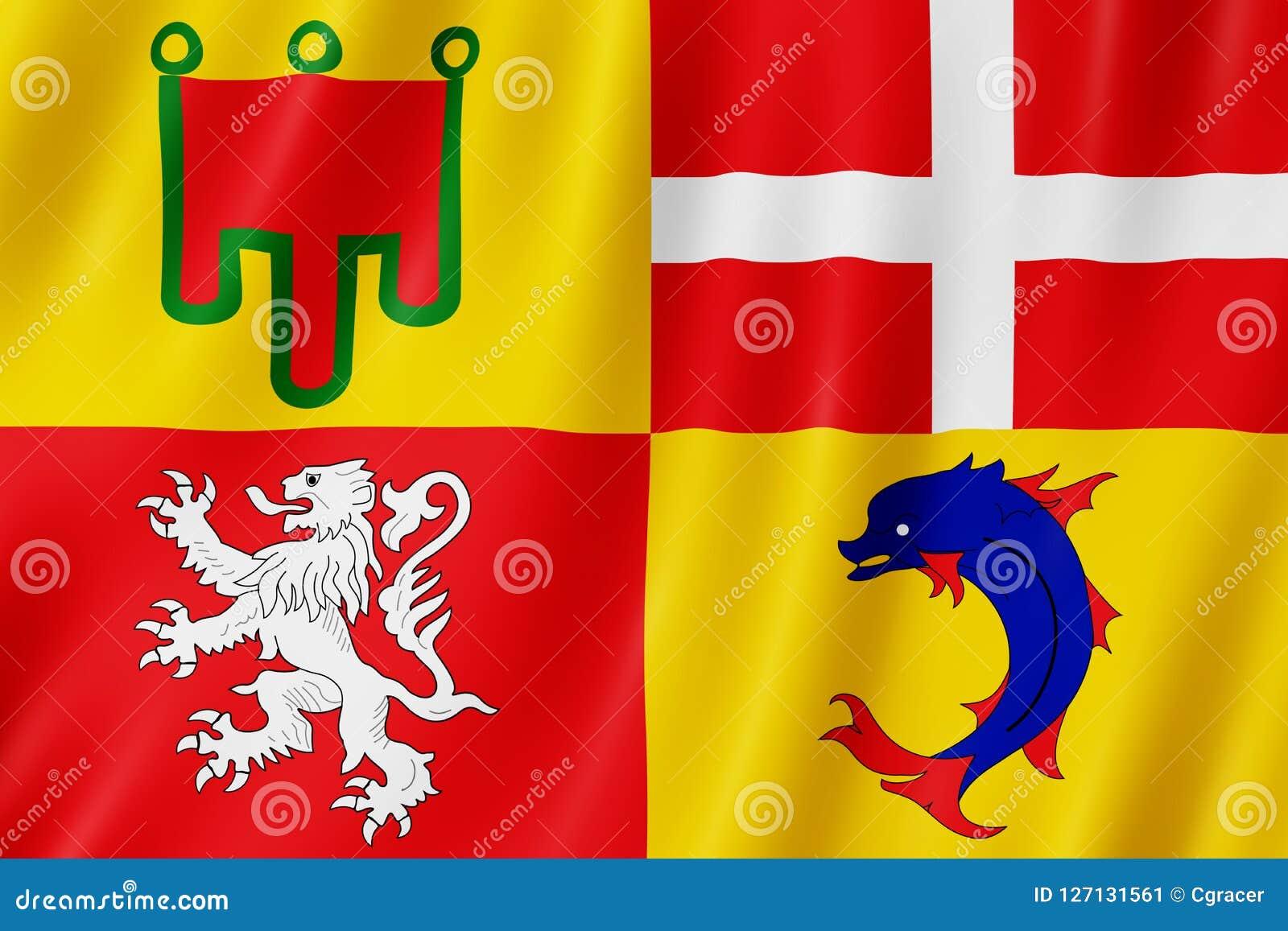 Bandiera di Alvernia-Rhone-Alpes, Francia Immagine Stock