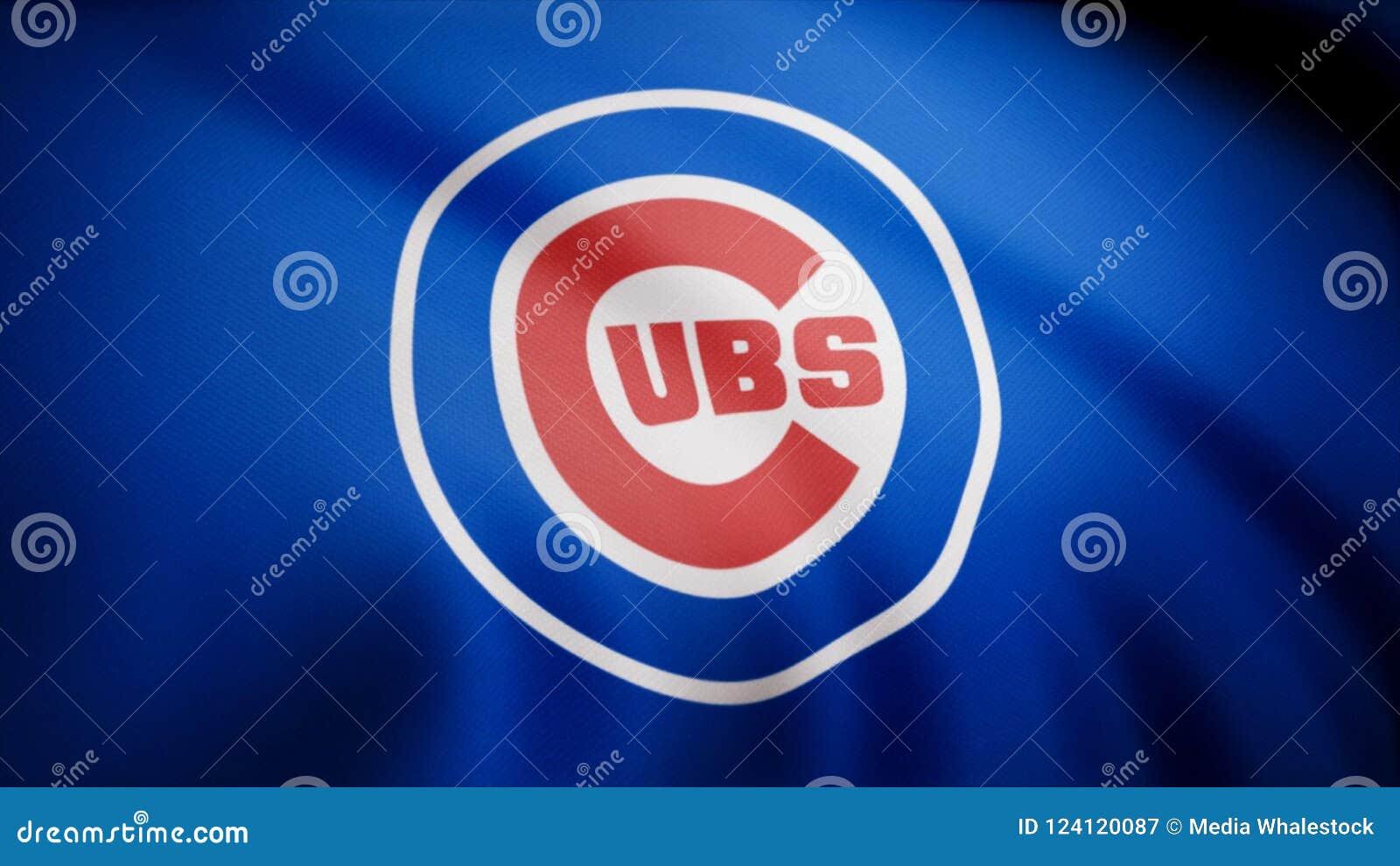 Bandiera di Chicago Cubs, squadra di baseball professionale americana Logo del gruppo di Chicago Cubs di baseball, ciclo senza cu