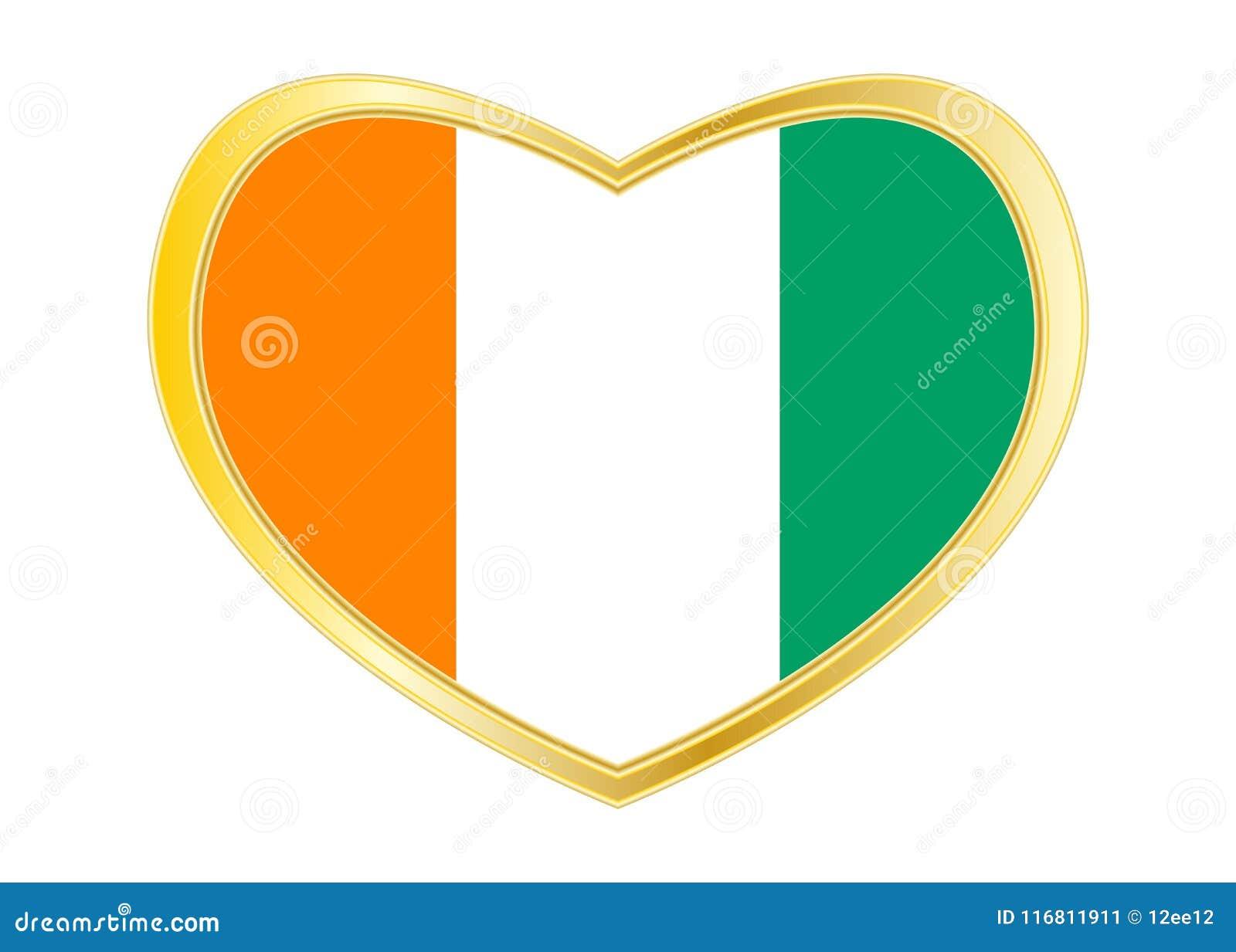 Bandiera di Costa d Avorio nella forma del cuore, struttura dorata