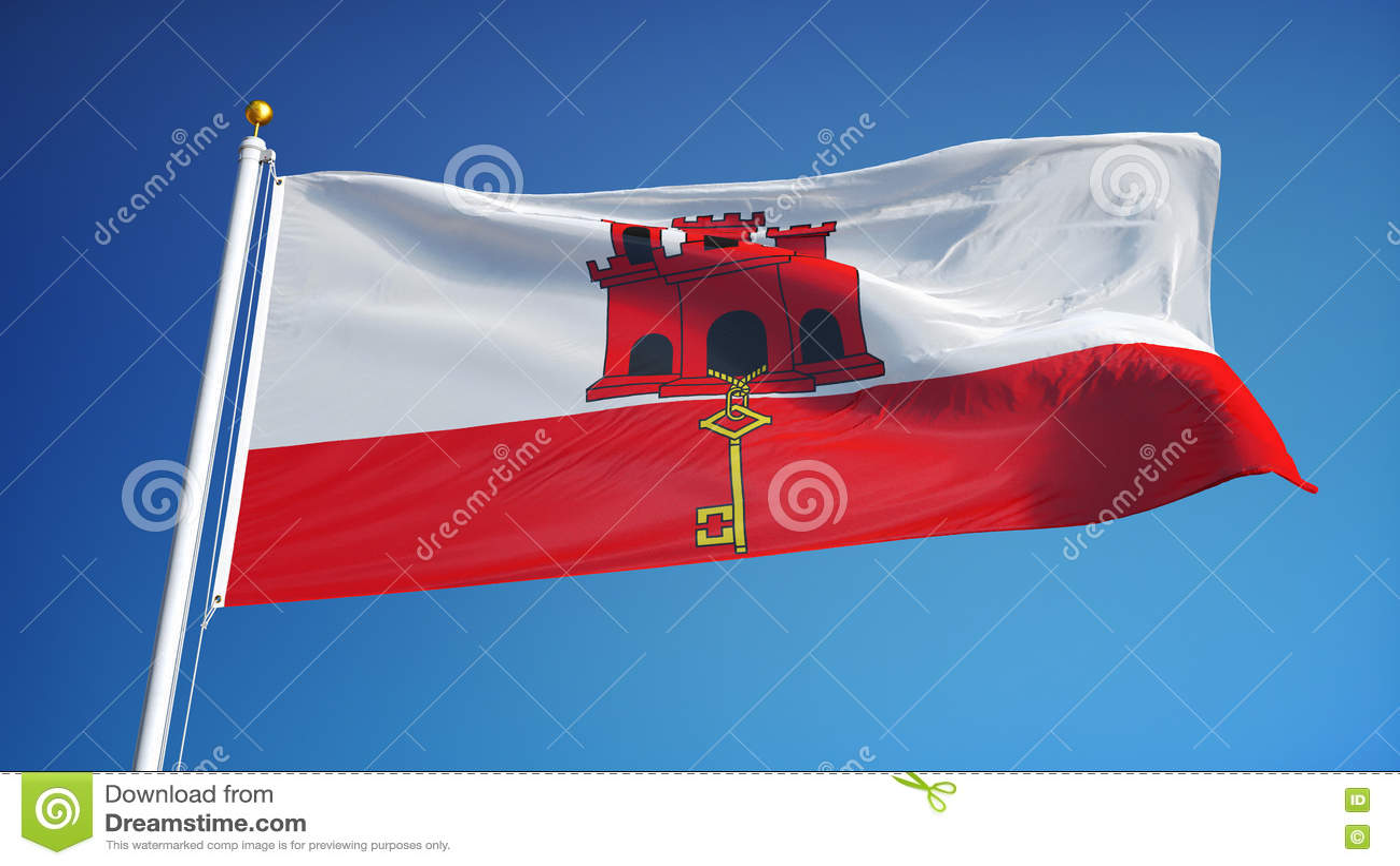 Bandiera Di Gibilterra Al Rallentatore Senza Cuciture Avvolta Con L