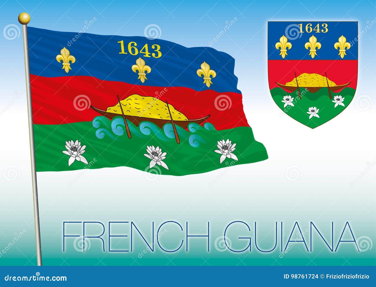 Bandiera Di Guiana Francese E Cappotto O Armi Illustrazione ... fa9f00ac60fe