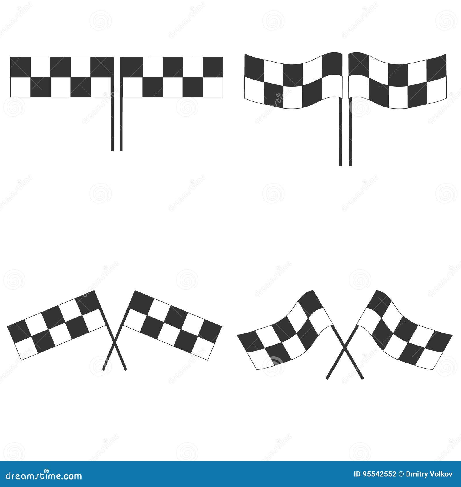 Bandiera di sport per la corsa della concorrenza Bandiere a quadretti in bianco e nero di automobilismo