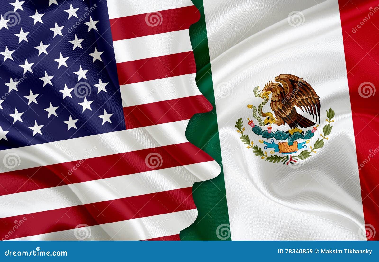 Bandiera di U.S.A. e bandiera del Messico