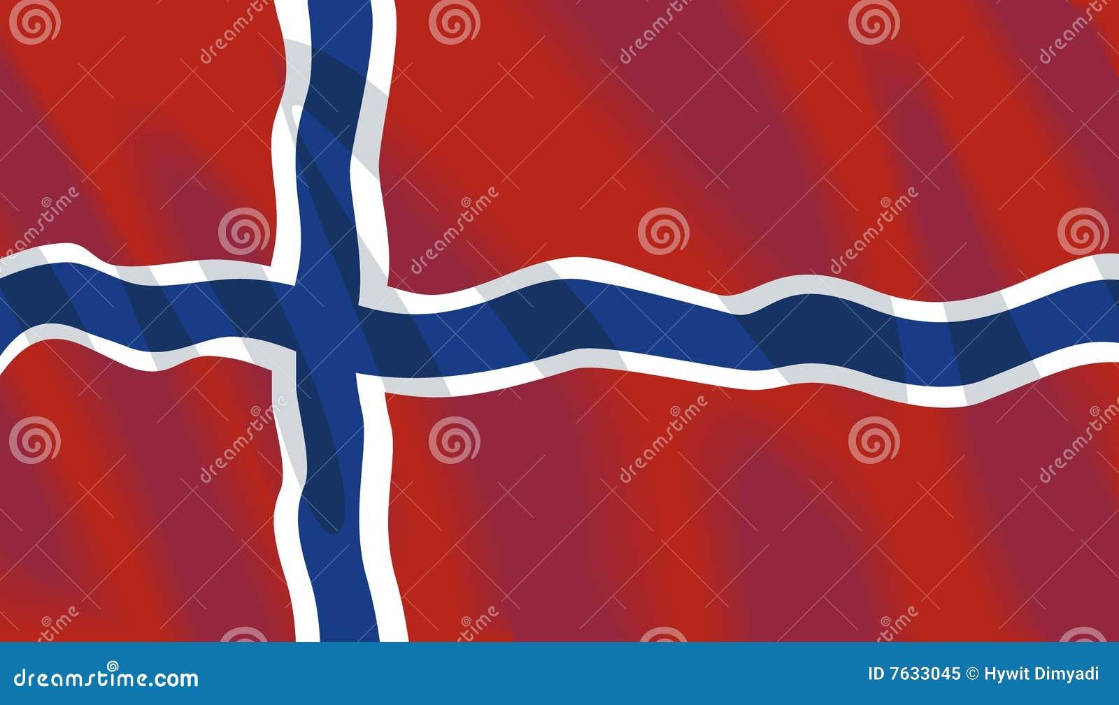 Bandiera nazionale d ondeggiamento della Norvegia
