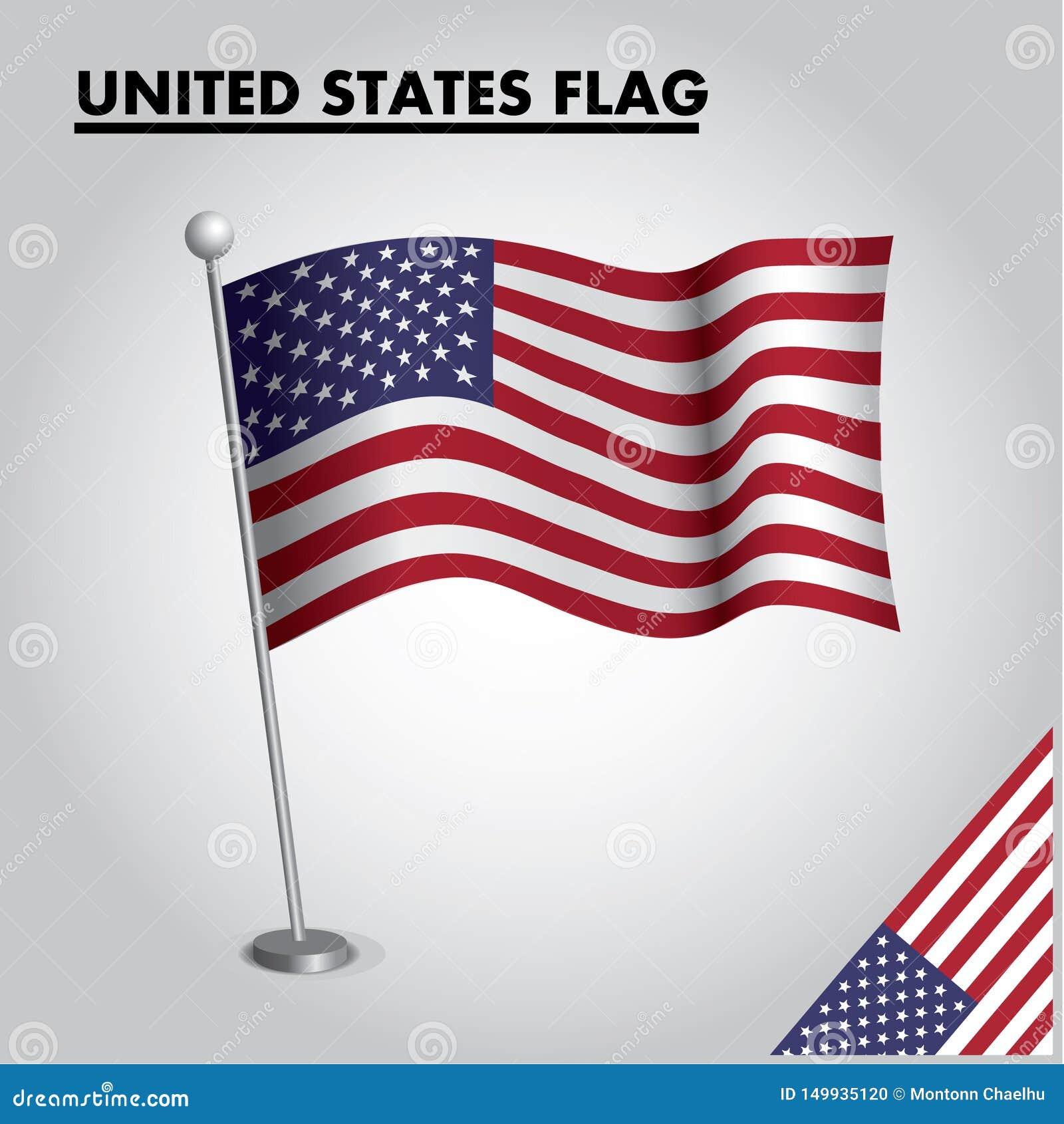 Bandiera nazionale della bandiera degli STATI UNITI degli STATI UNITI su un palo