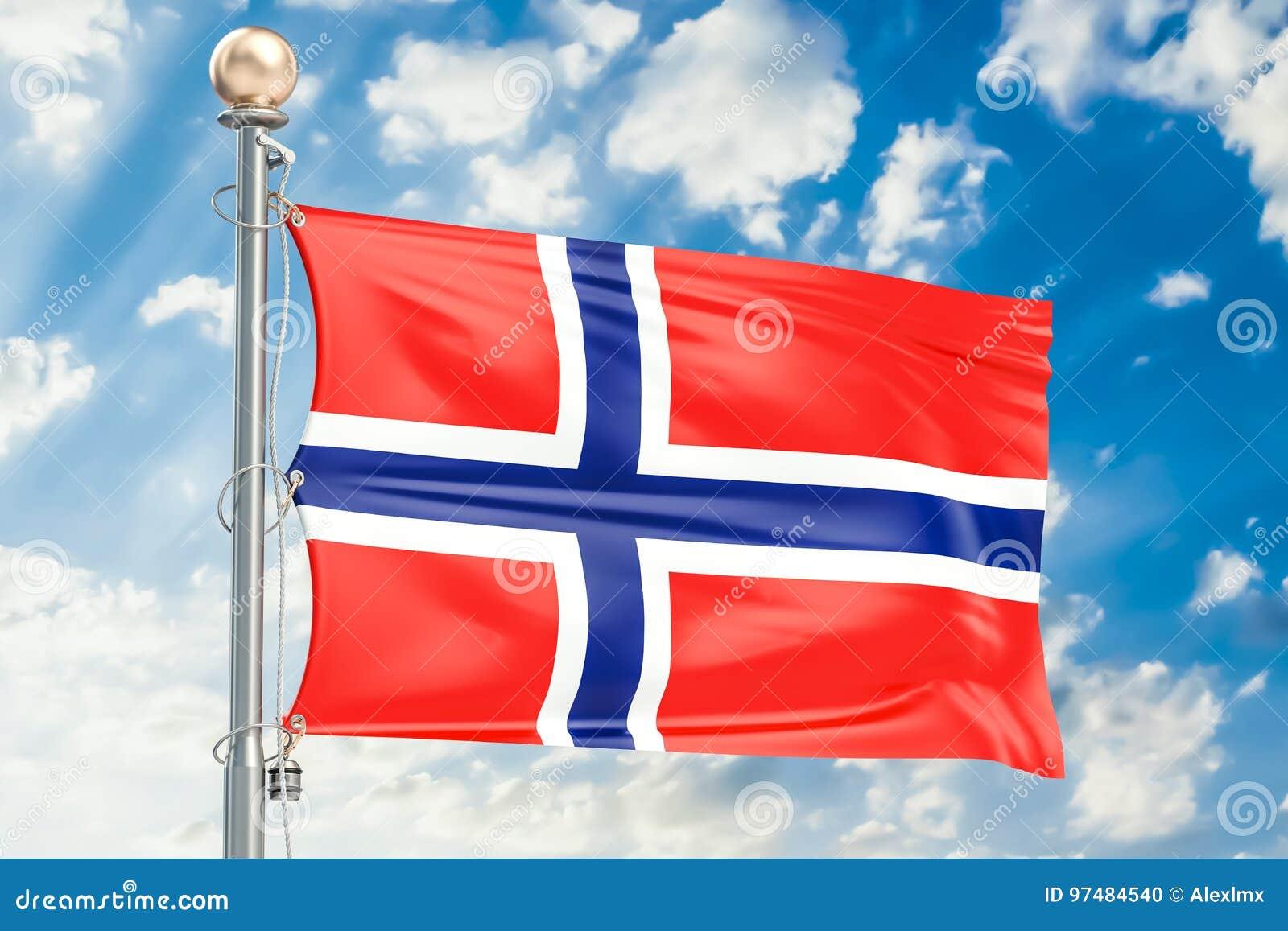 Bandiera norvegese che ondeggia in cielo nuvoloso blu, rappresentazione 3D
