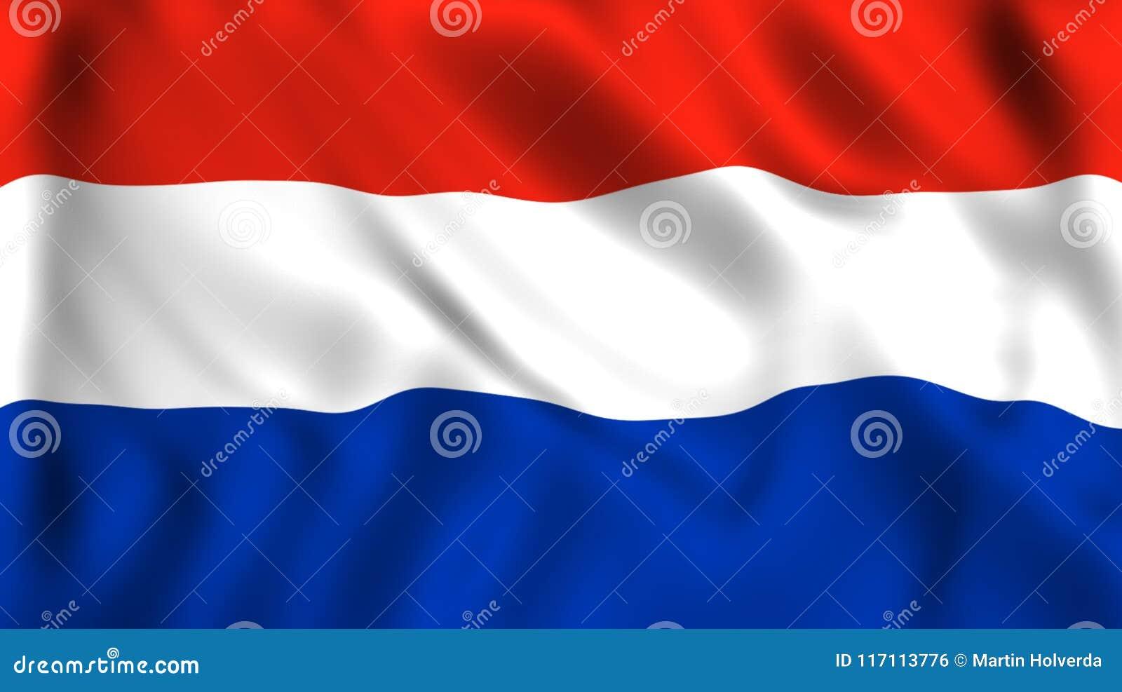Bandiera Olandese Che Ondeggia Nel Vento Illustrazione Di Stock