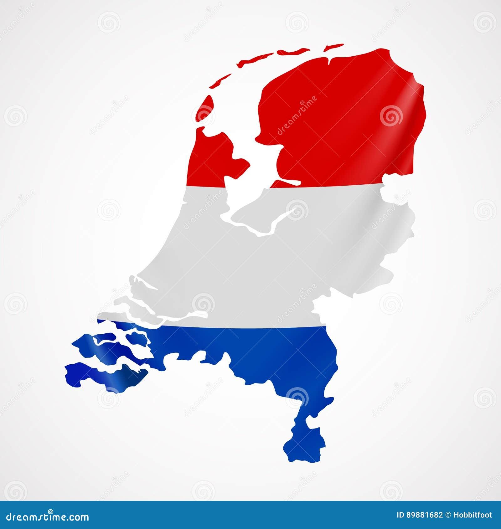 Bandiera Olandese Dattaccatura Nella Forma Di Mappa Netherlands