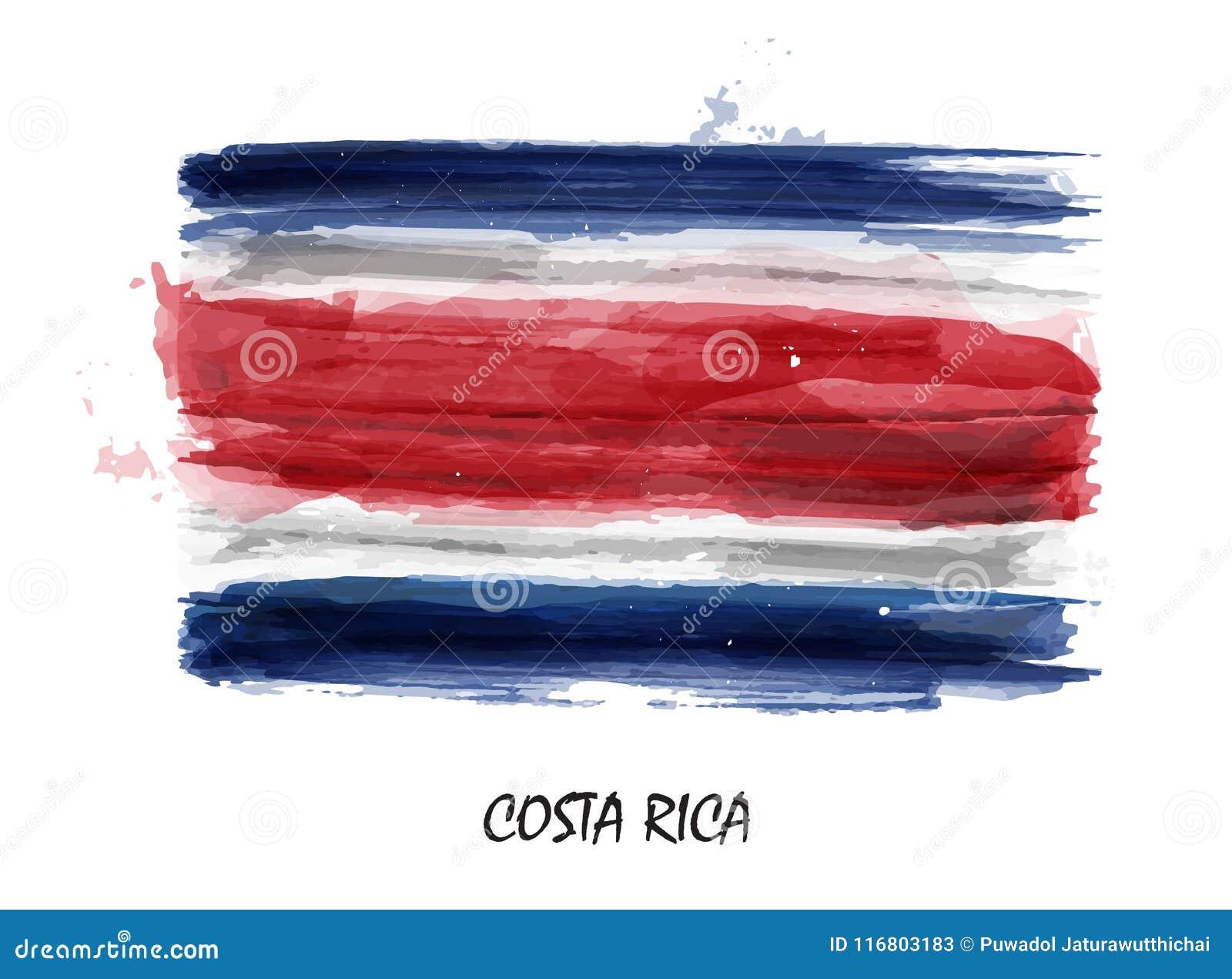 Bandiera realistica della pittura dell acquerello della Costa Rica Vettore