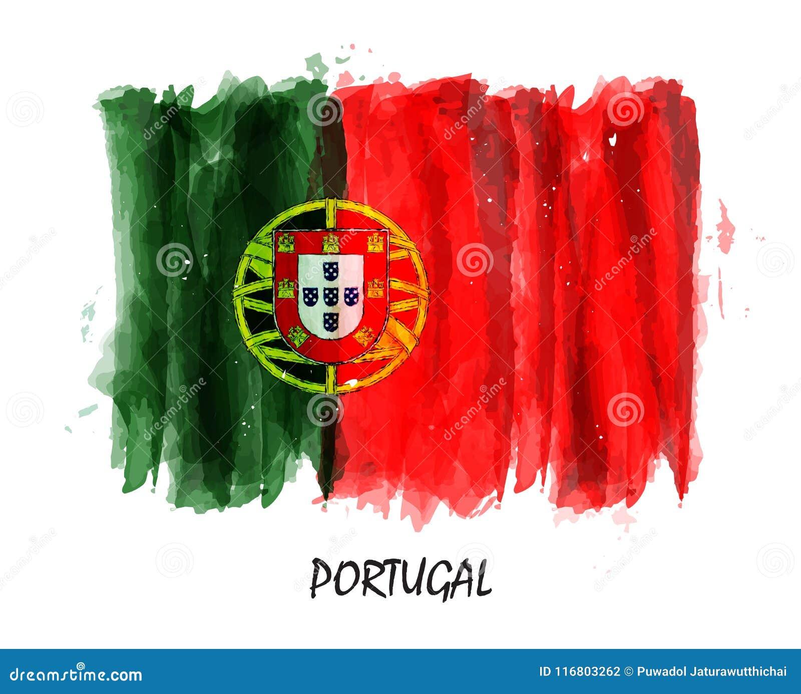 Bandiera realistica della pittura dell acquerello del Portogallo Vettore