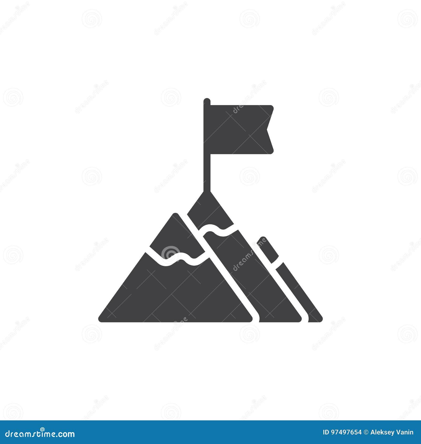 Bandiera sul vettore dell icona della cima della montagna, segno piano riempito