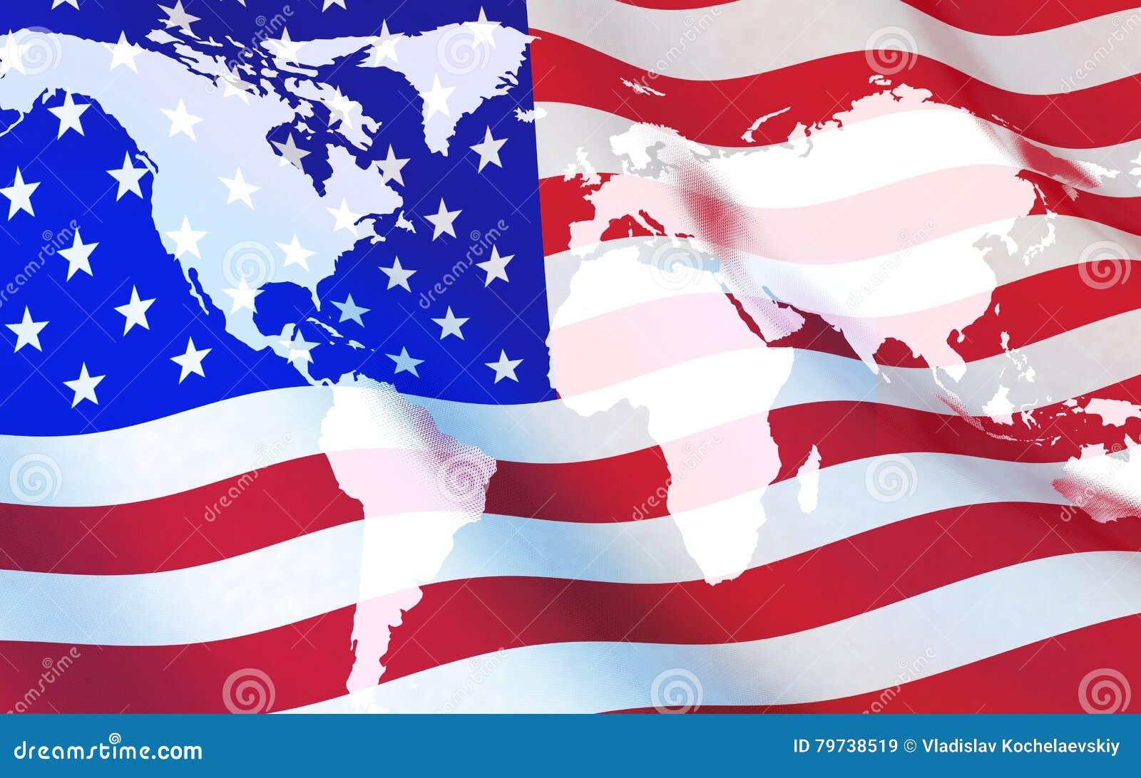 Bandiera U.S.A. e mappa di mondo