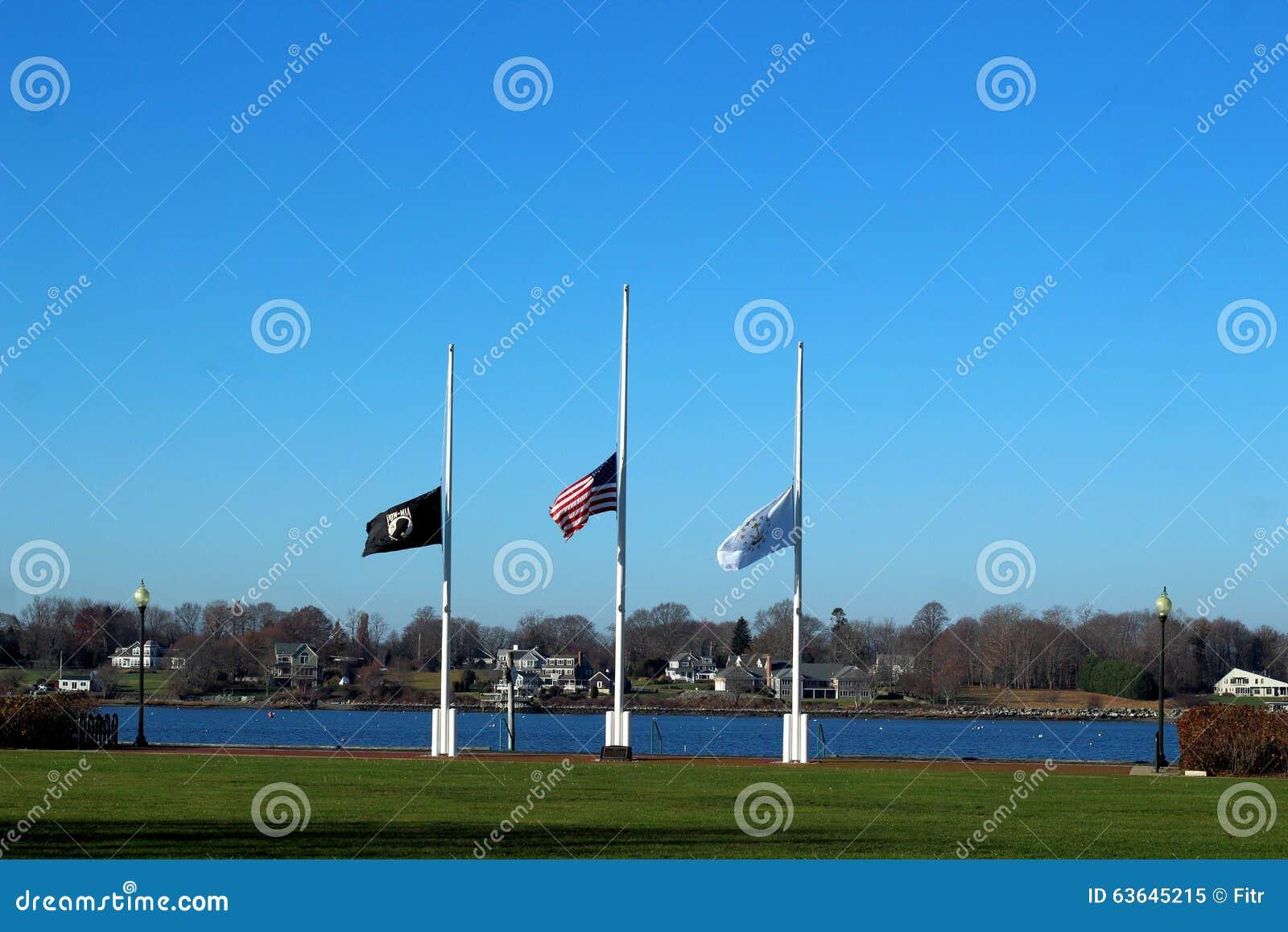 Bandiere che volano al mezzo albero