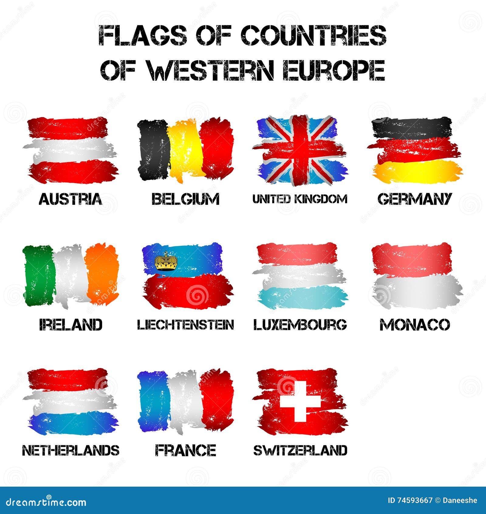 Bandiere Dei Paesi Di Europa Occidentale Dai Colpi Della Spazzola