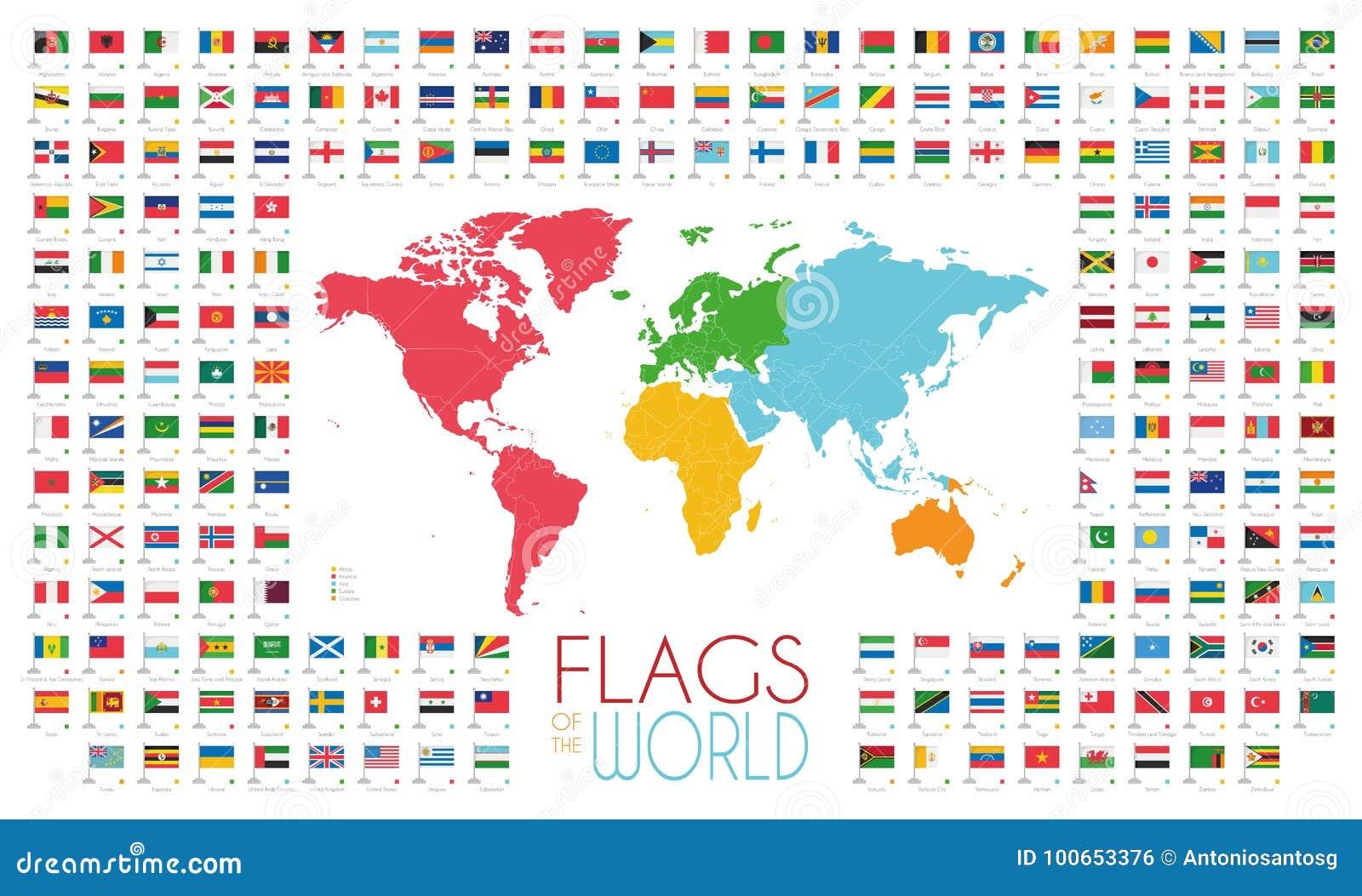Cartina Mondo Con Bandiere.204 Bandiere Del Mondo Con La Mappa Di Mondo Dai Continenti Vector L Illustrazione Illustrazione Vettoriale Illustrazione Di Naturalizzato Dettagliato 100653376