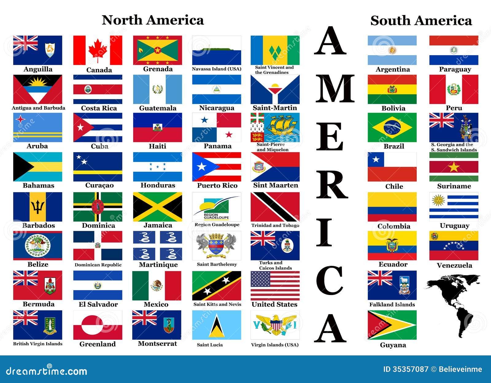 Bandiere del nord e del sudamerica illustrazione di stock - Bandiere bianche a colori ...