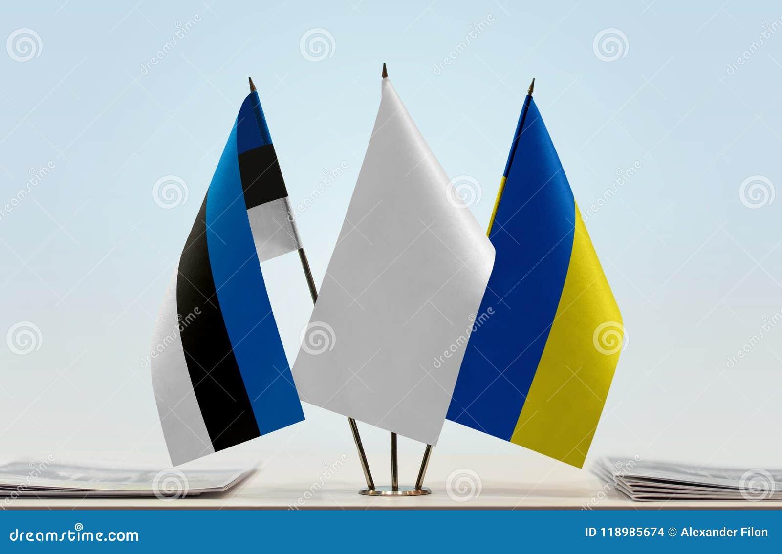 Bandiere dell Estonia e dell Ucraina