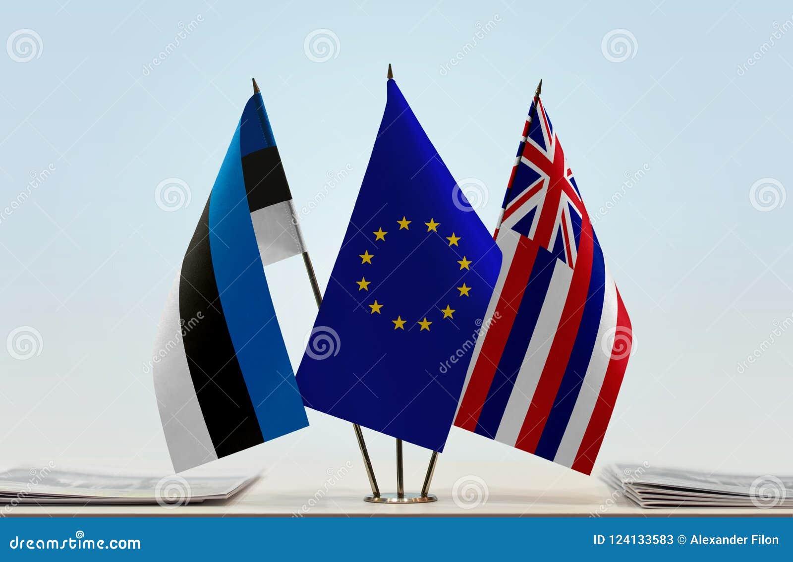 Bandiere dell Estonia UE e delle Hawai