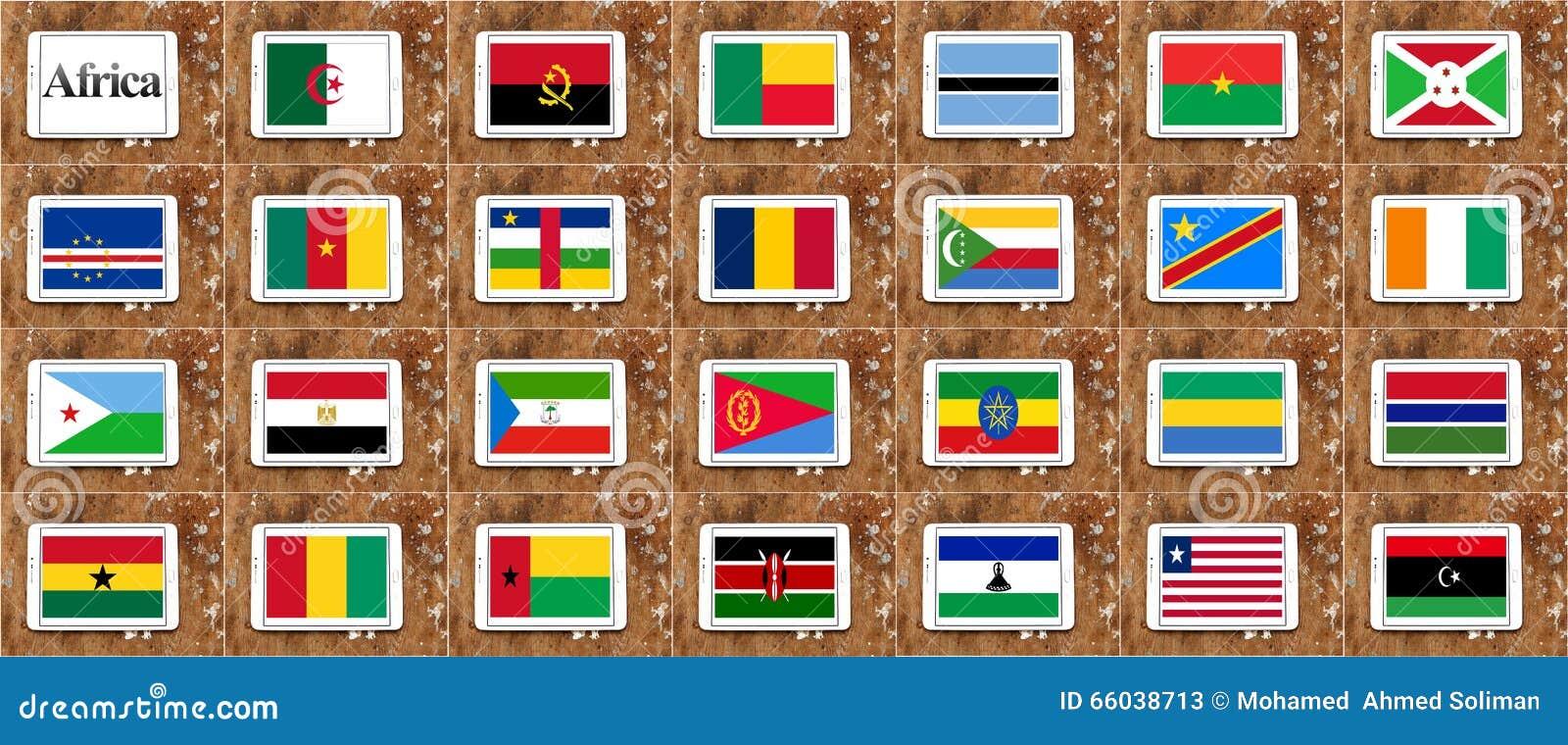 Bandiere della parte 1 dei paesi dell Africa in ordine alfabetico