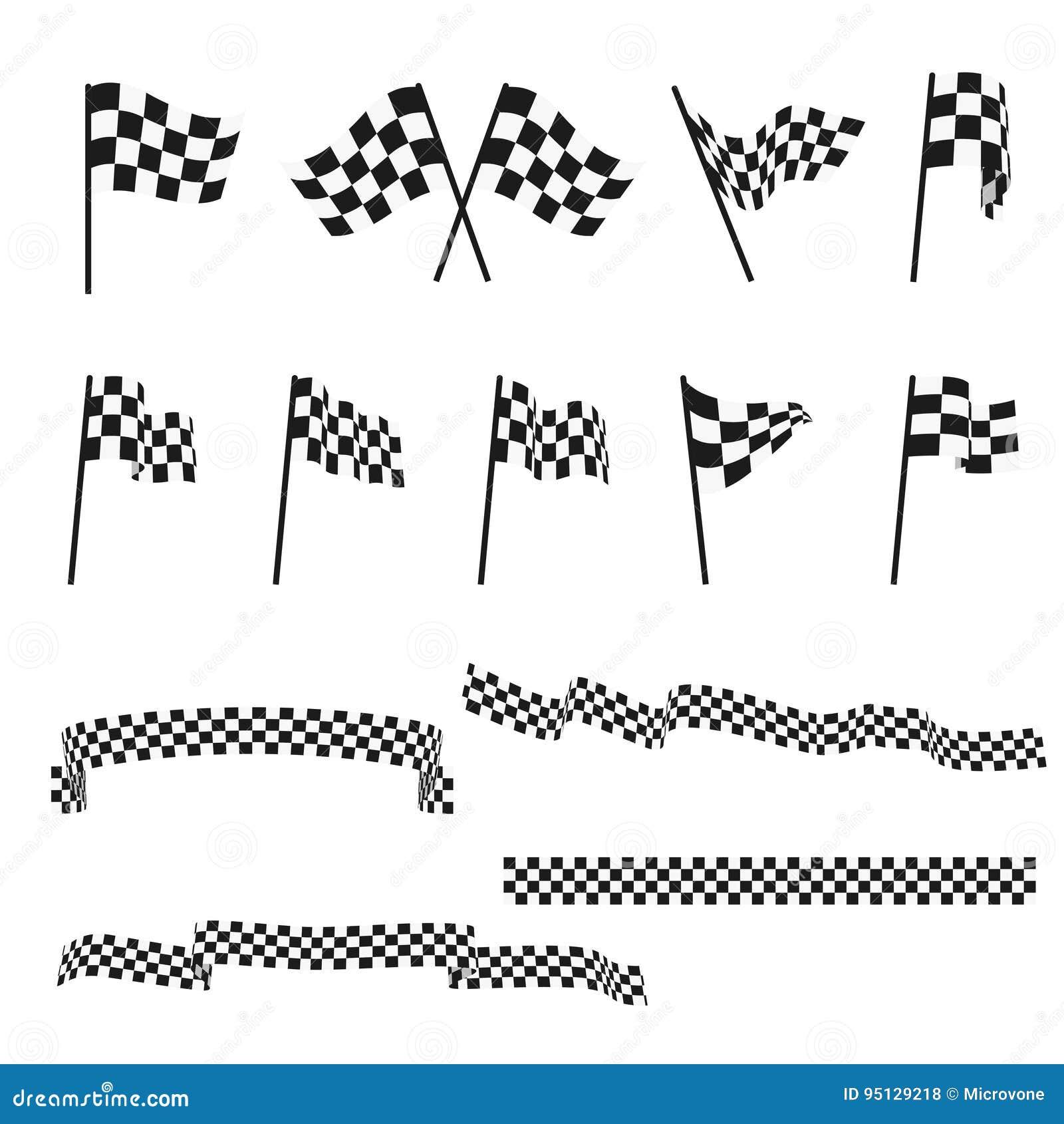 Bandiere di automobilismo ed insieme a quadretti in bianco e nero di vettore del nastro di rifinitura