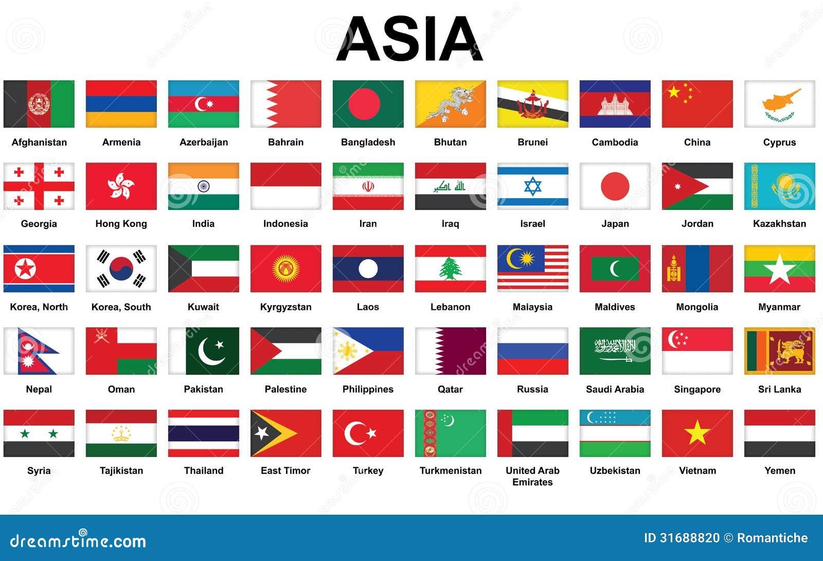 Insieme delle icone con le bandiere di paesi asiatici