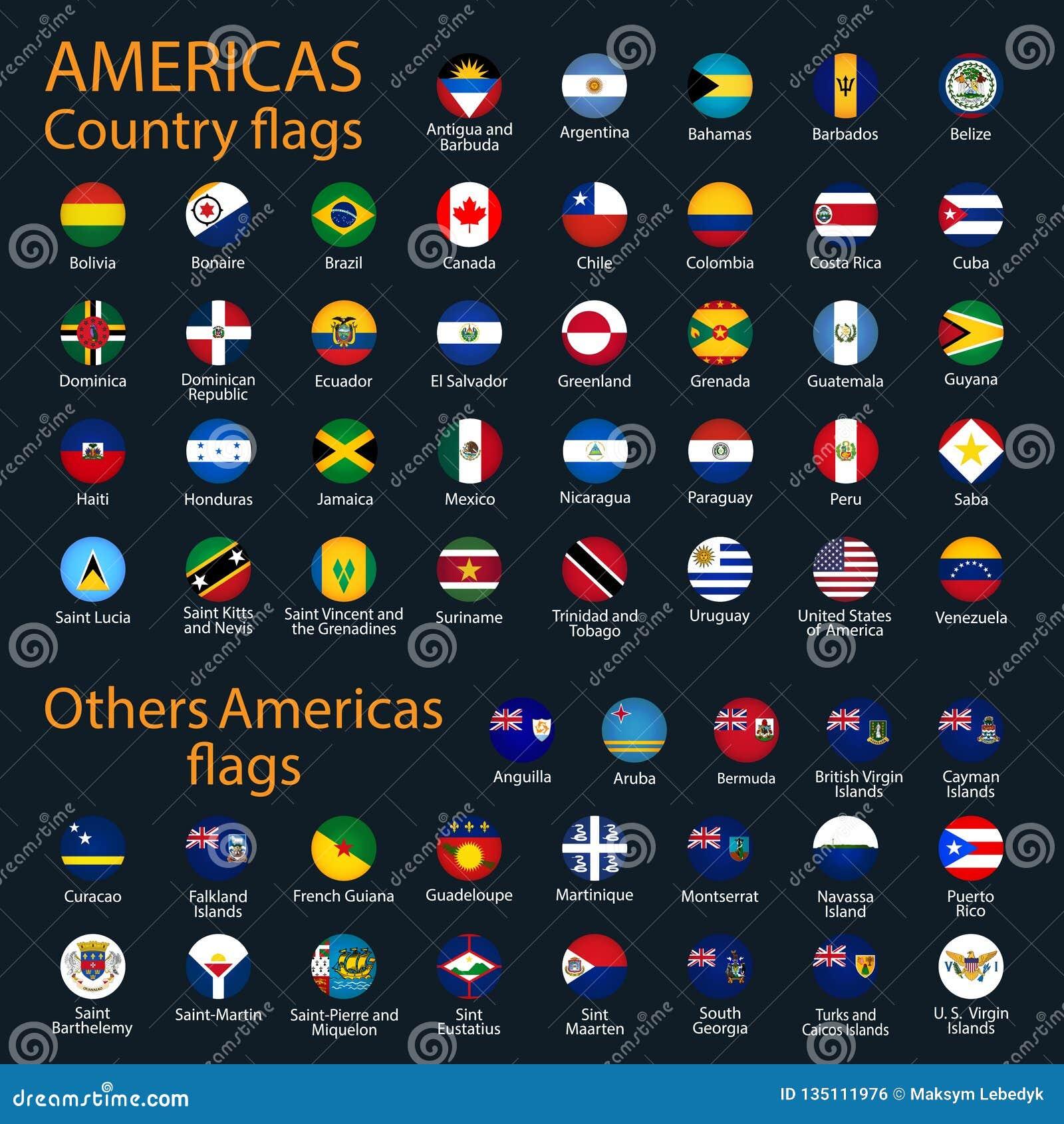 Bandiere di tutti i paesi dei continenti americani