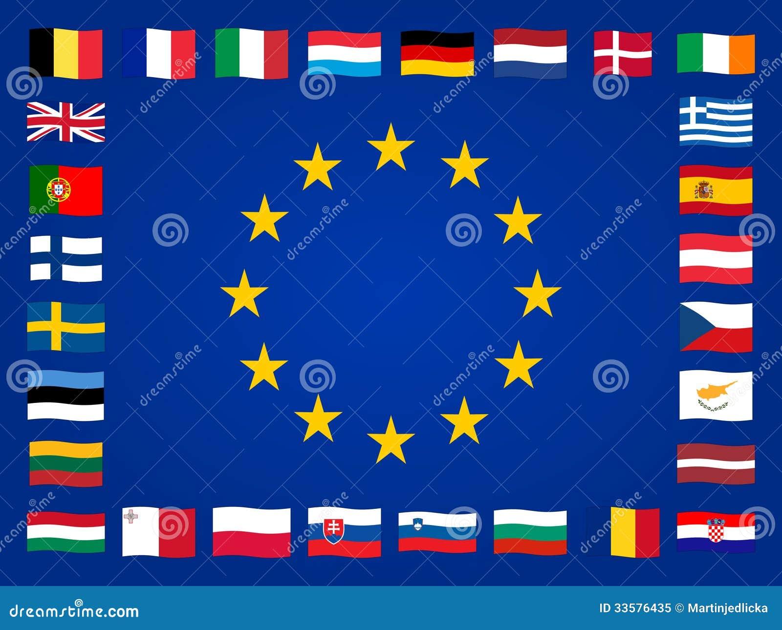 Bandiere europee illustrazione vettoriale illustrazione - Bandiere bianche a colori ...
