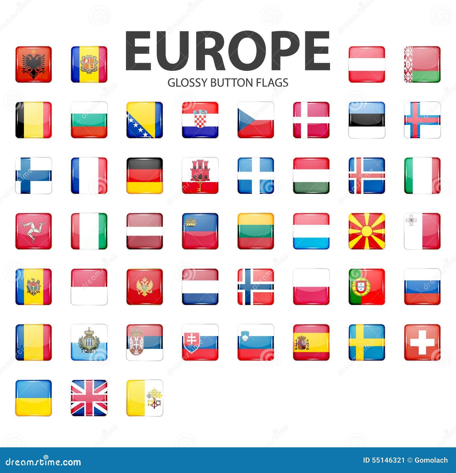 Bandiere lucide del bottone europa colori originali - Bandiere bianche a colori ...