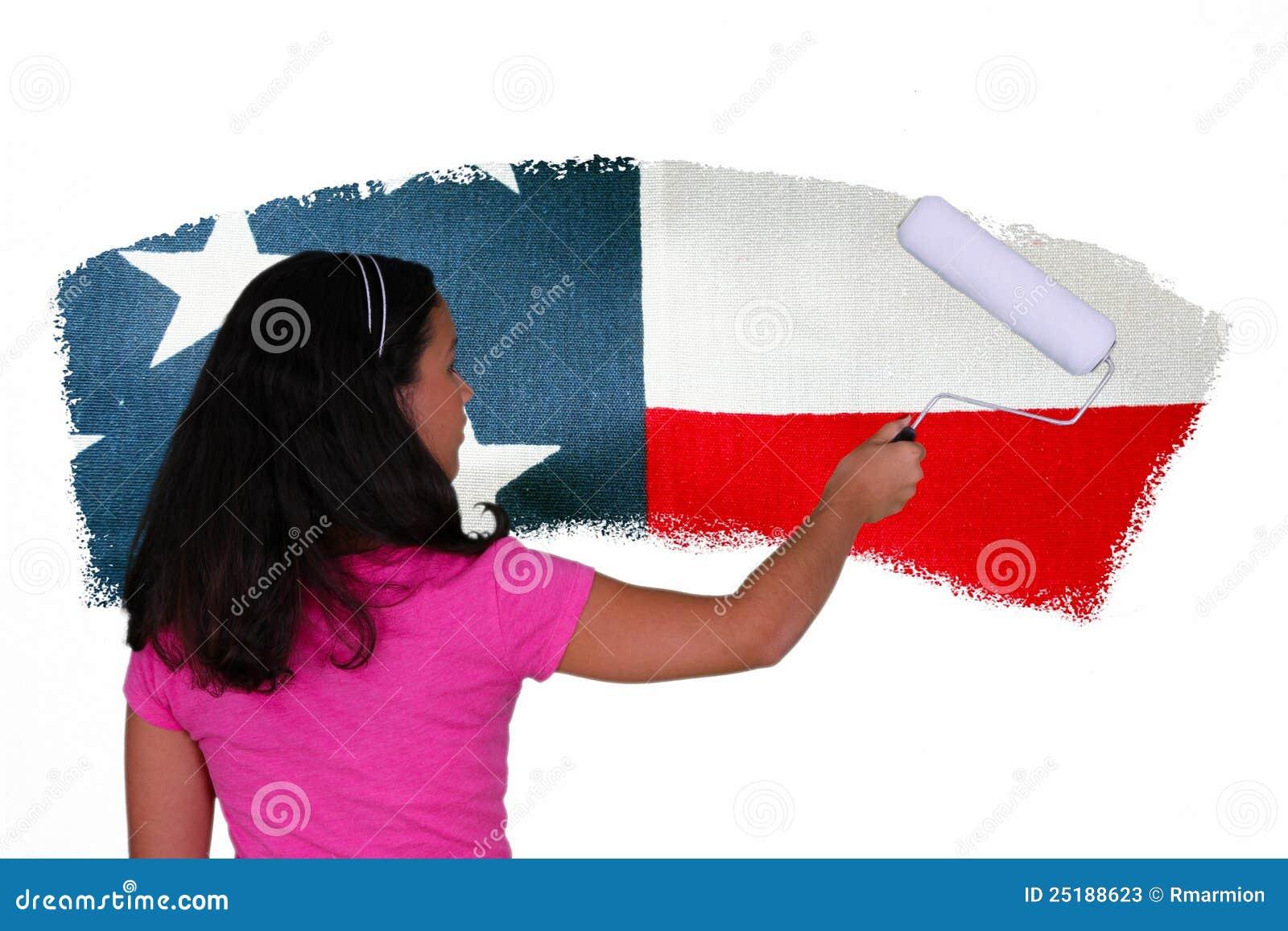 Bandierina della pittura della ragazza
