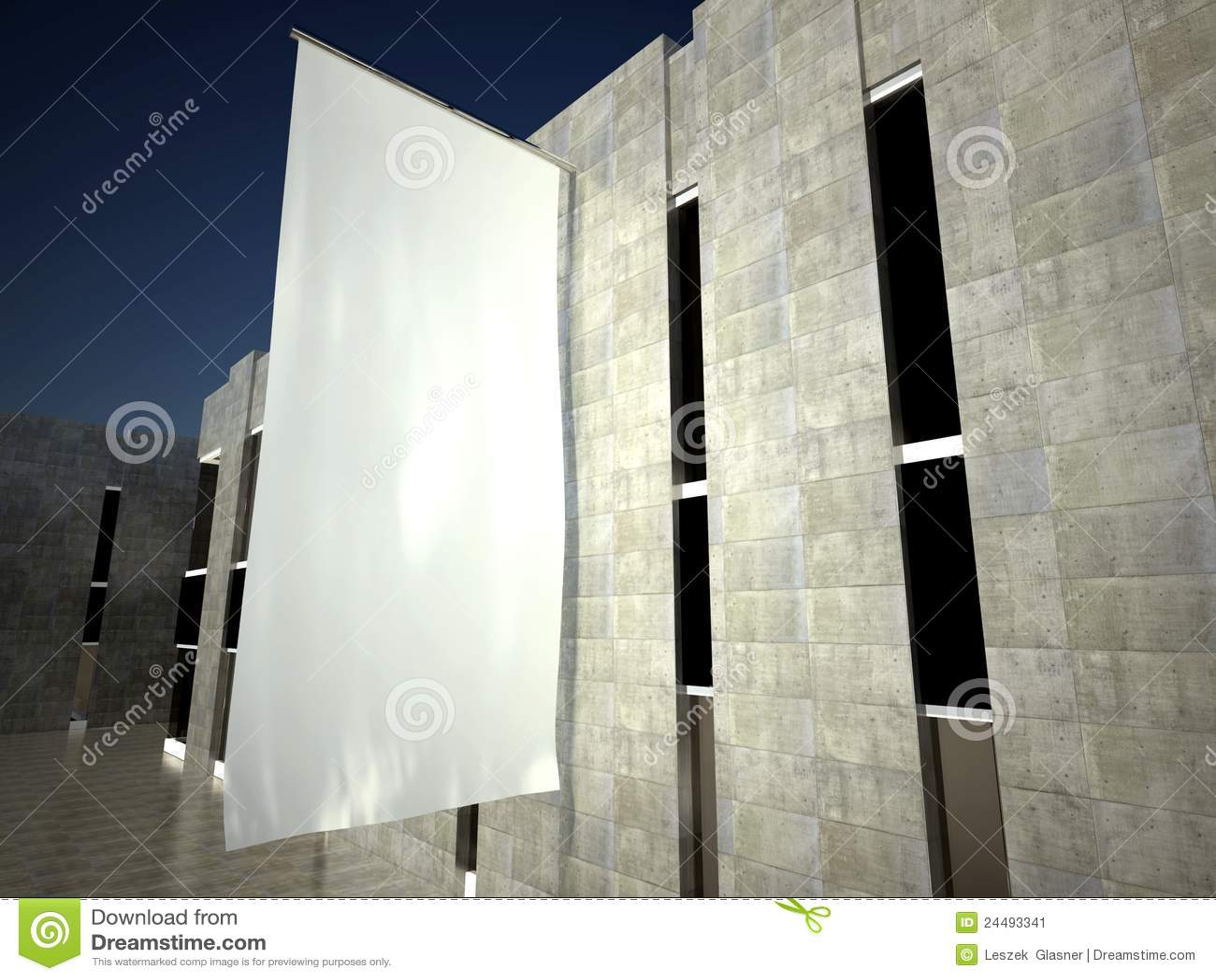 Bandierina di pubblicità vuota in bianco 3d sulla parete della costruzione