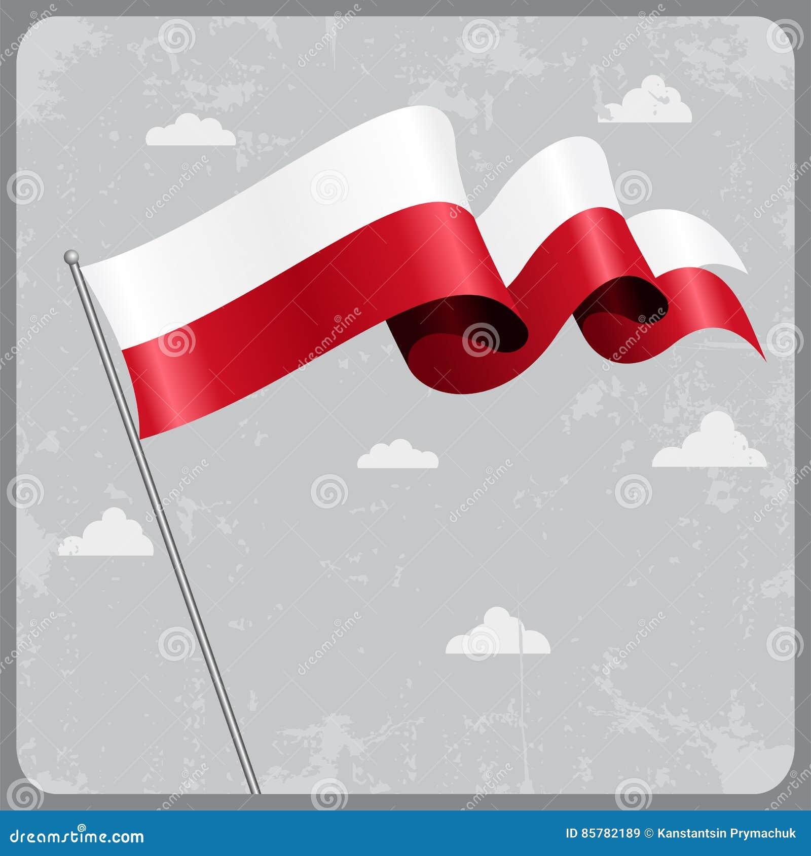 Bandierina ondulata polacca Illustrazione di vettore