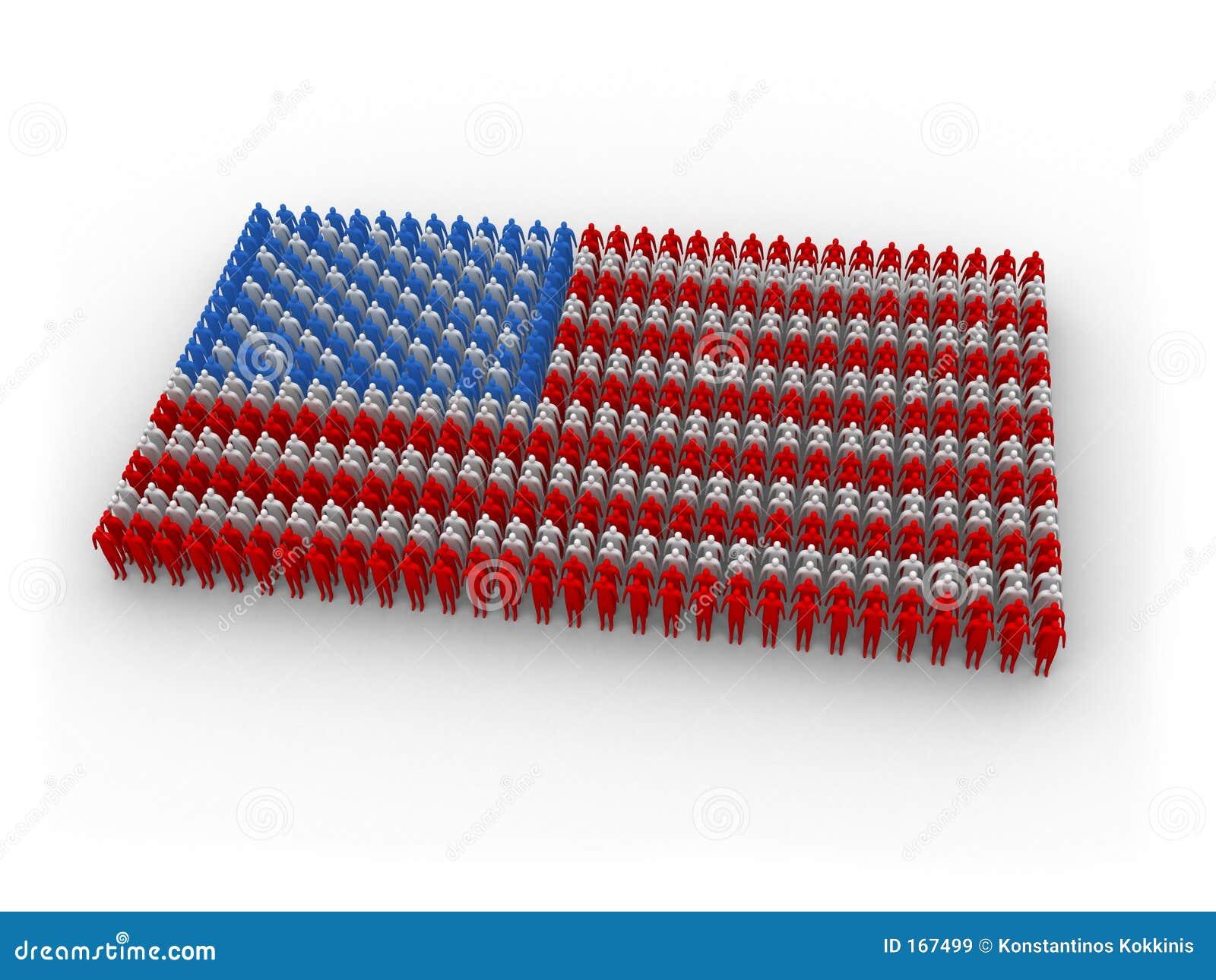 Bandierina umana degli Stati Uniti