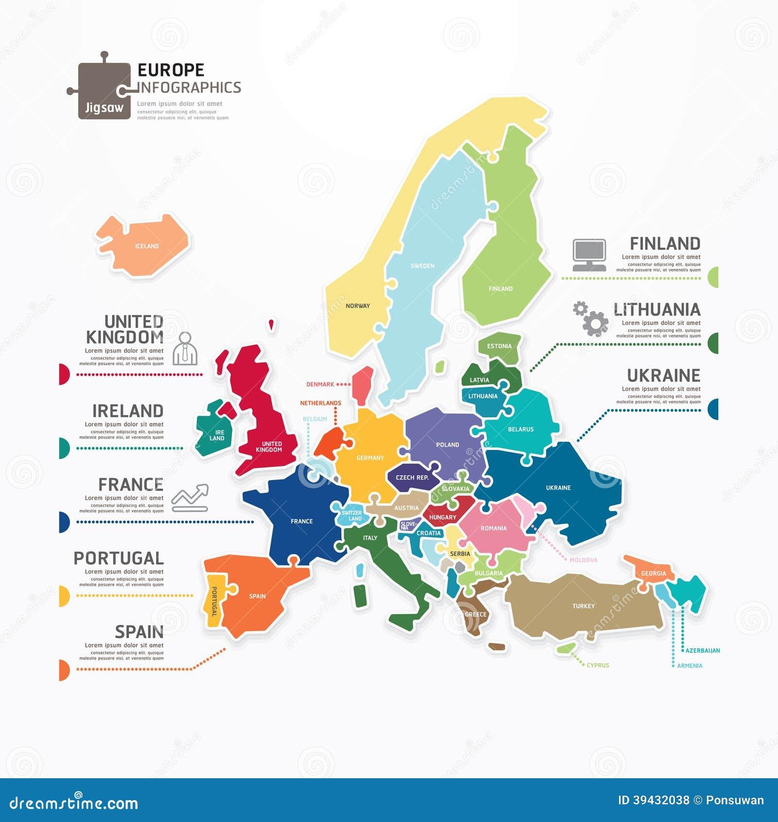 Baner för begrepp för figursåg för Europa översiktsInfographic mall. vektor.