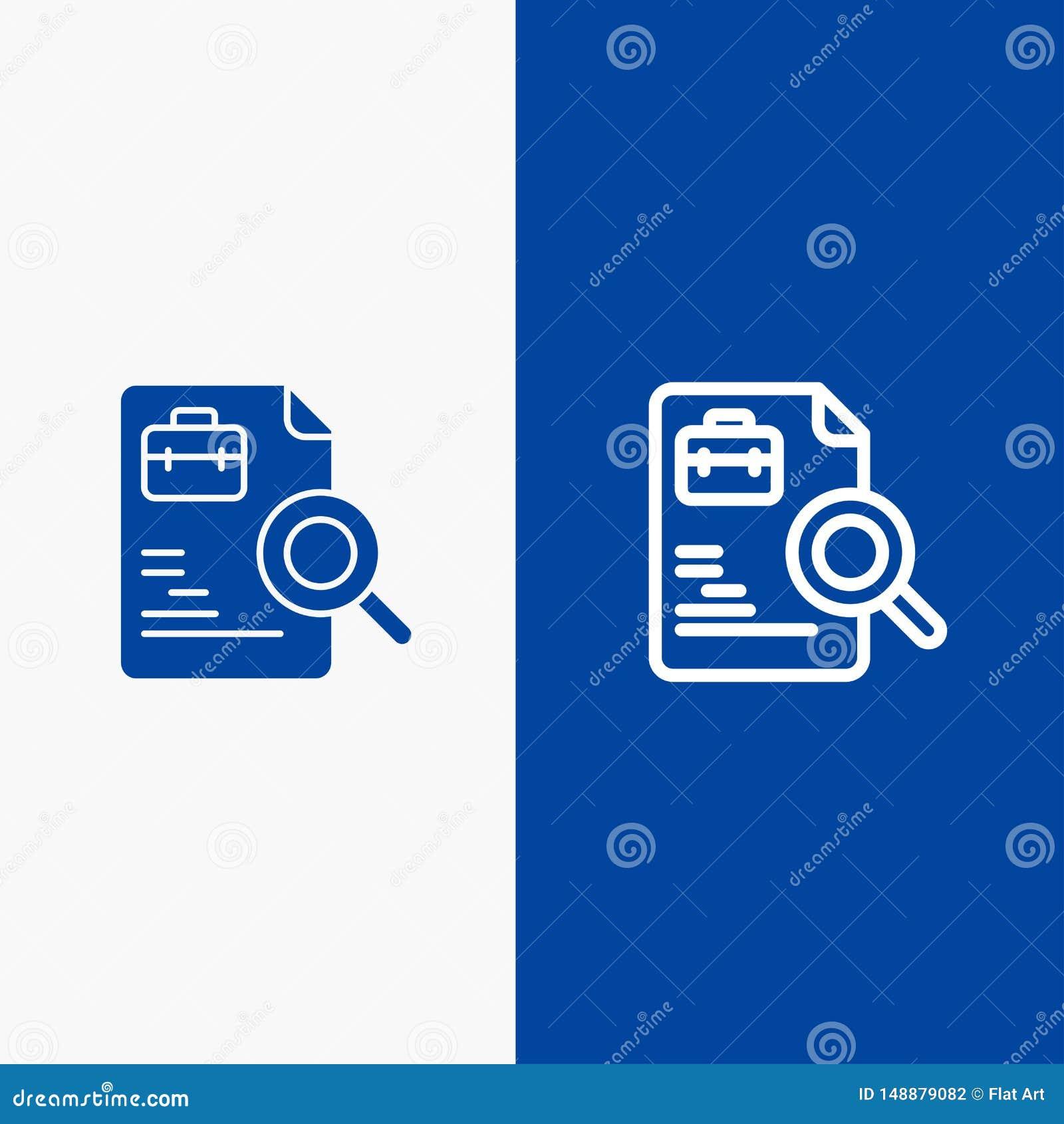 Baner för blå för baner för fast symbol för arbetare, för dokument, för sökande, för jobblinje och för skåra blått symbol för lin