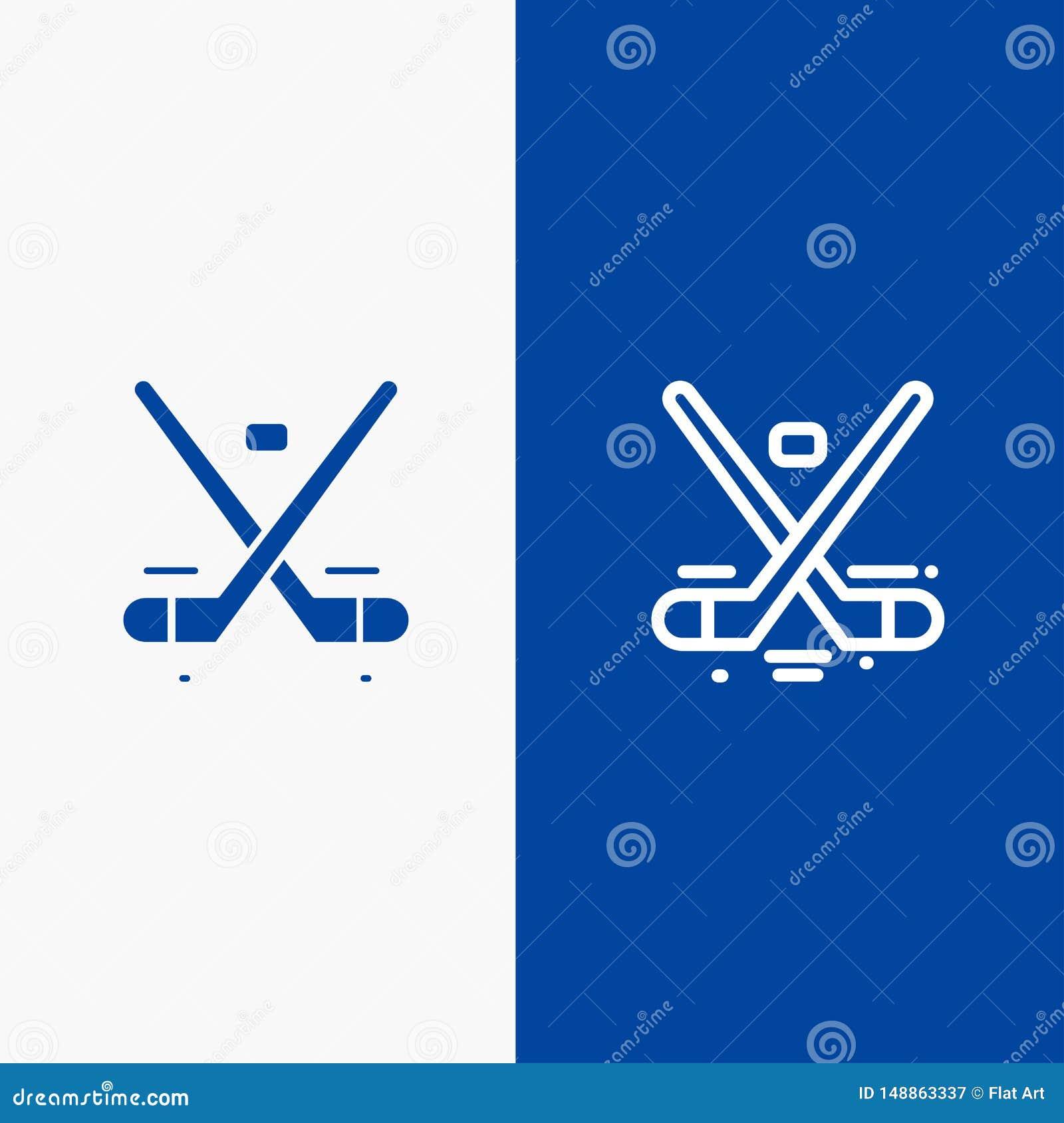 Baner för blå för baner Kanada, för lek, för hockey, för is, för OSlinje och för skåra för fast symbol blått symbol för linje och