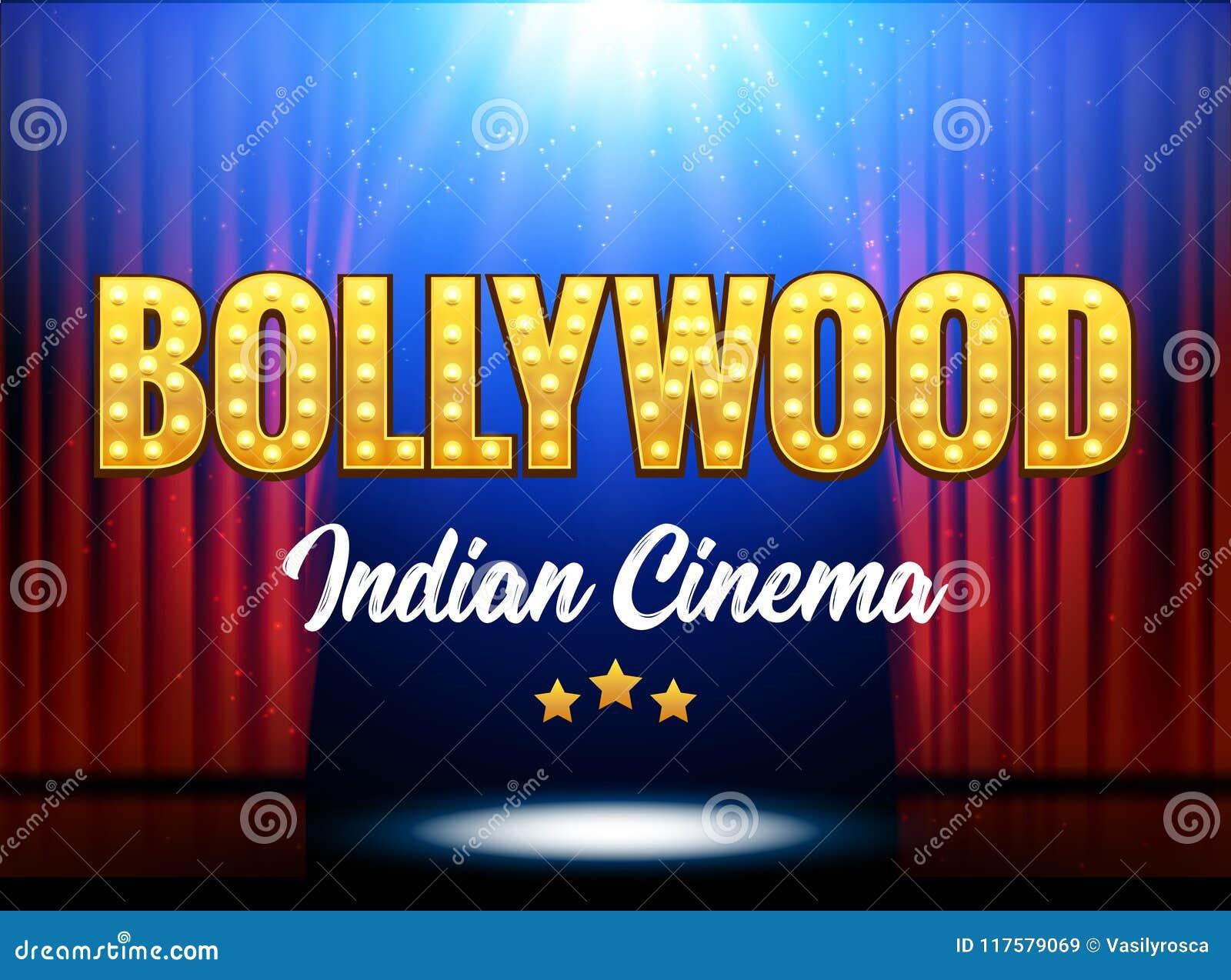 Baner för Bollywood indiskt biofilm Indisk bio Logo Sign Design Glowing Element med etappen och gardiner