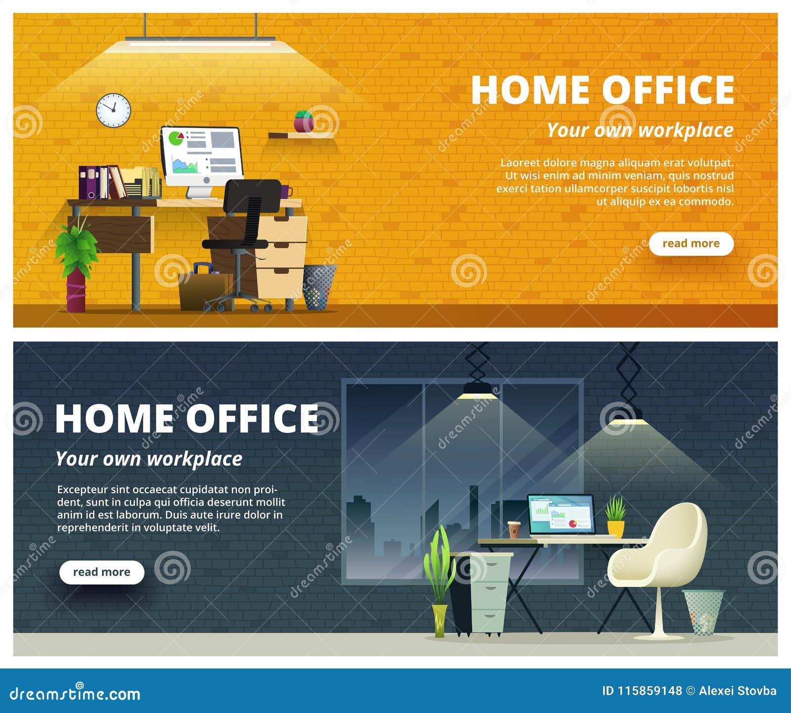 Baner för design för kontorsarbetsplatsinre Inrikesdepartementetbegreppsillustration
