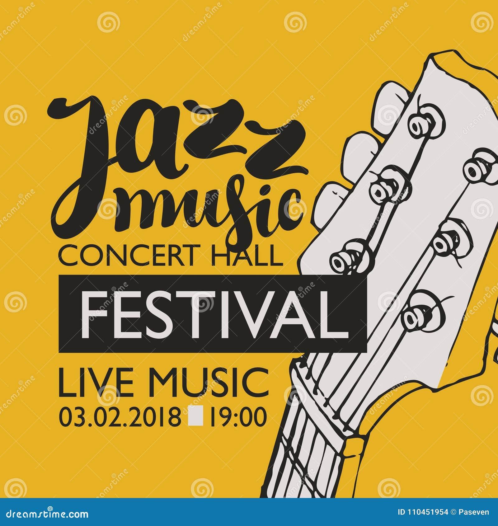 Baner för festivaljazzmusik med en gitarrhals