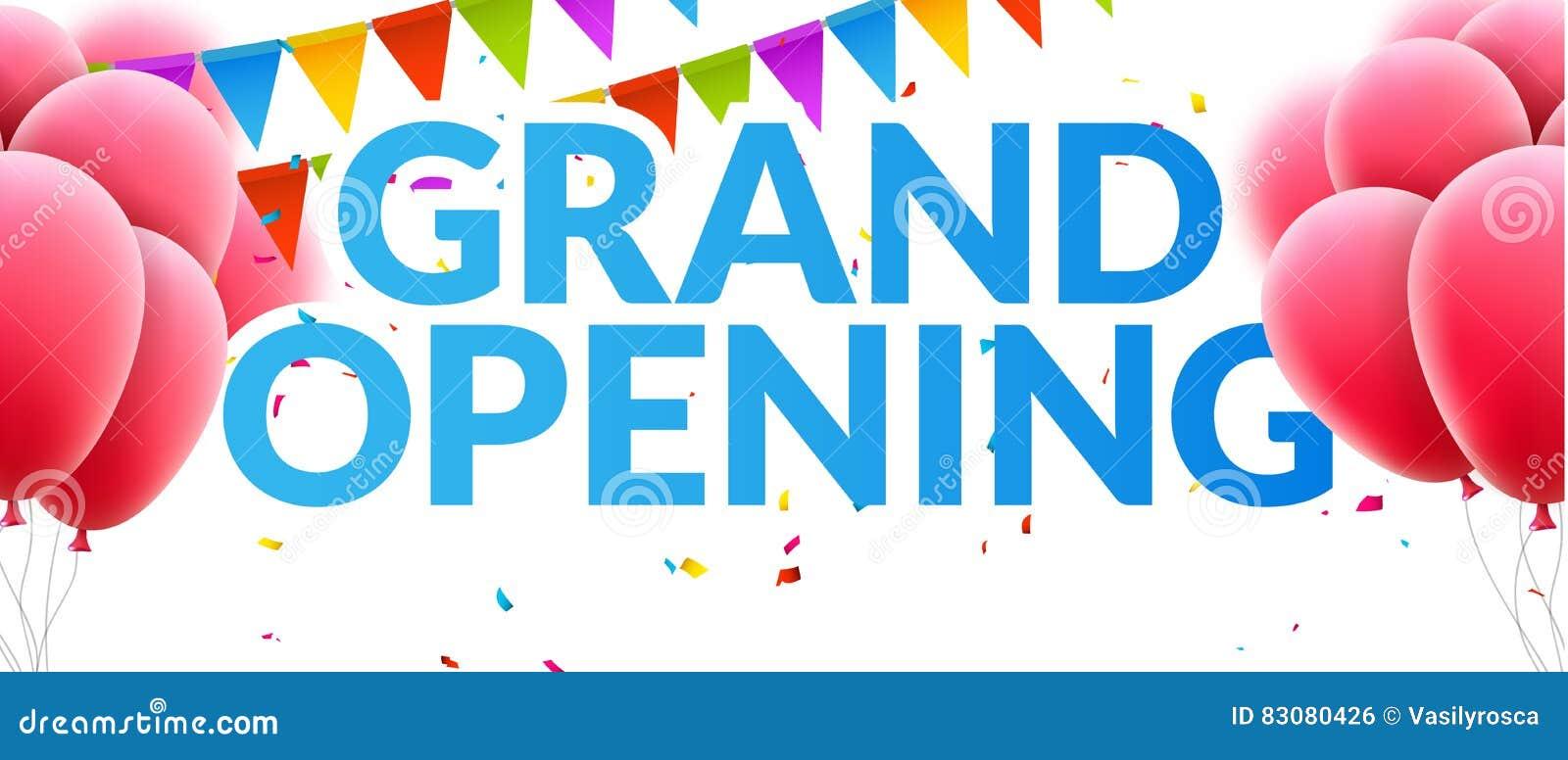 Baner för inbjudan för händelse för storslagen öppning med ballonger och konfettier För affischmall för storslagen öppning design