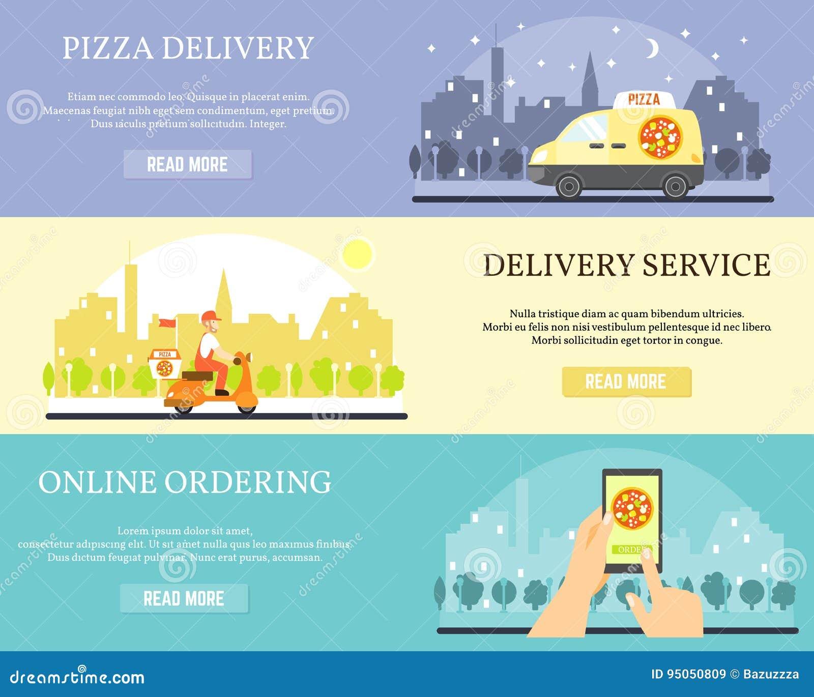 Baner för matleveransvektor Beställningspizza direktanslutet på internet genom att använda smartphonen Pizzaleverans med bilen oc