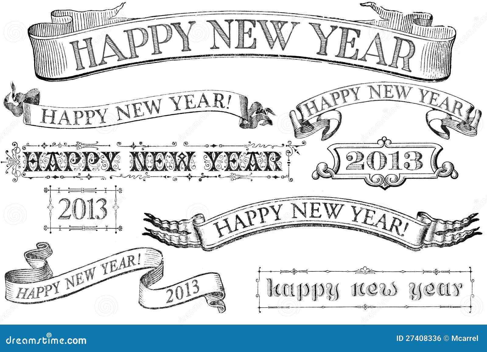 Baner för nytt år för tappningstil lyckliga