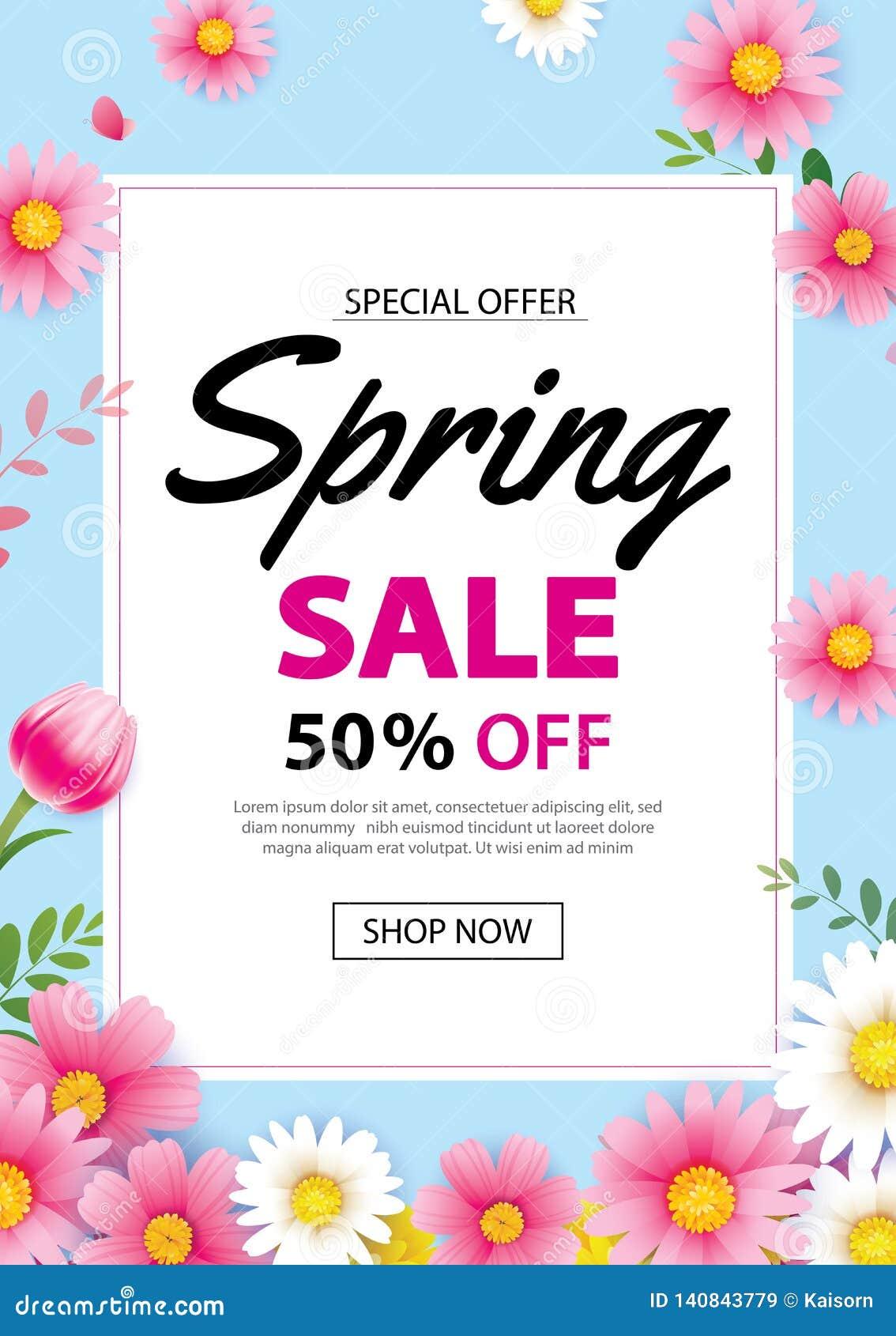 Baner för vårförsäljningsaffisch med att blomma blommabakgrundsmallen Design för annonsering, kupong, reklamblad, broschyr, räkni