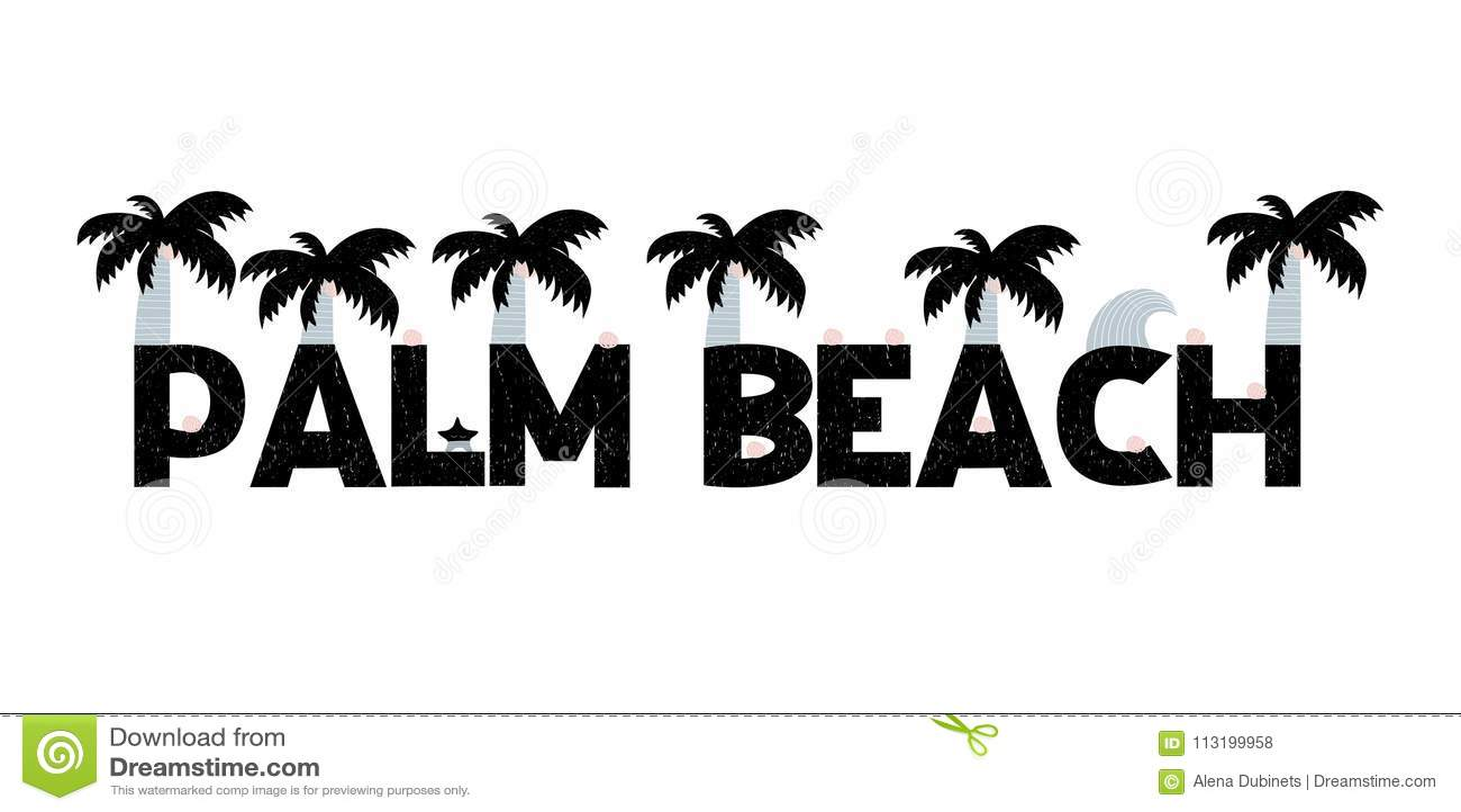 Baner med att märka Palm Beach i scandinavian stil också vektor för coreldrawillustration