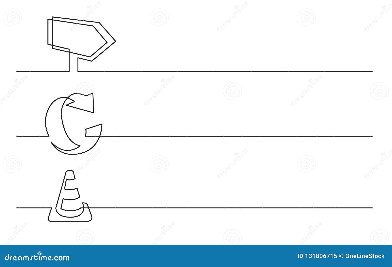 Banerdesign - fortlöpande linje teckning av affärssymboler: telefon ringklocka, kalender