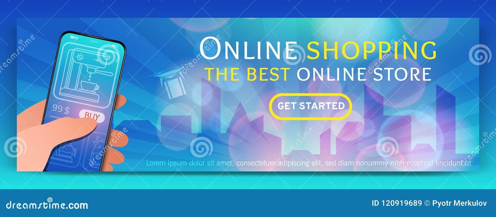 Banermall av den online-shopping och e-komrets Modernt plant designbegrepp av webbsidadesignen för mobil website