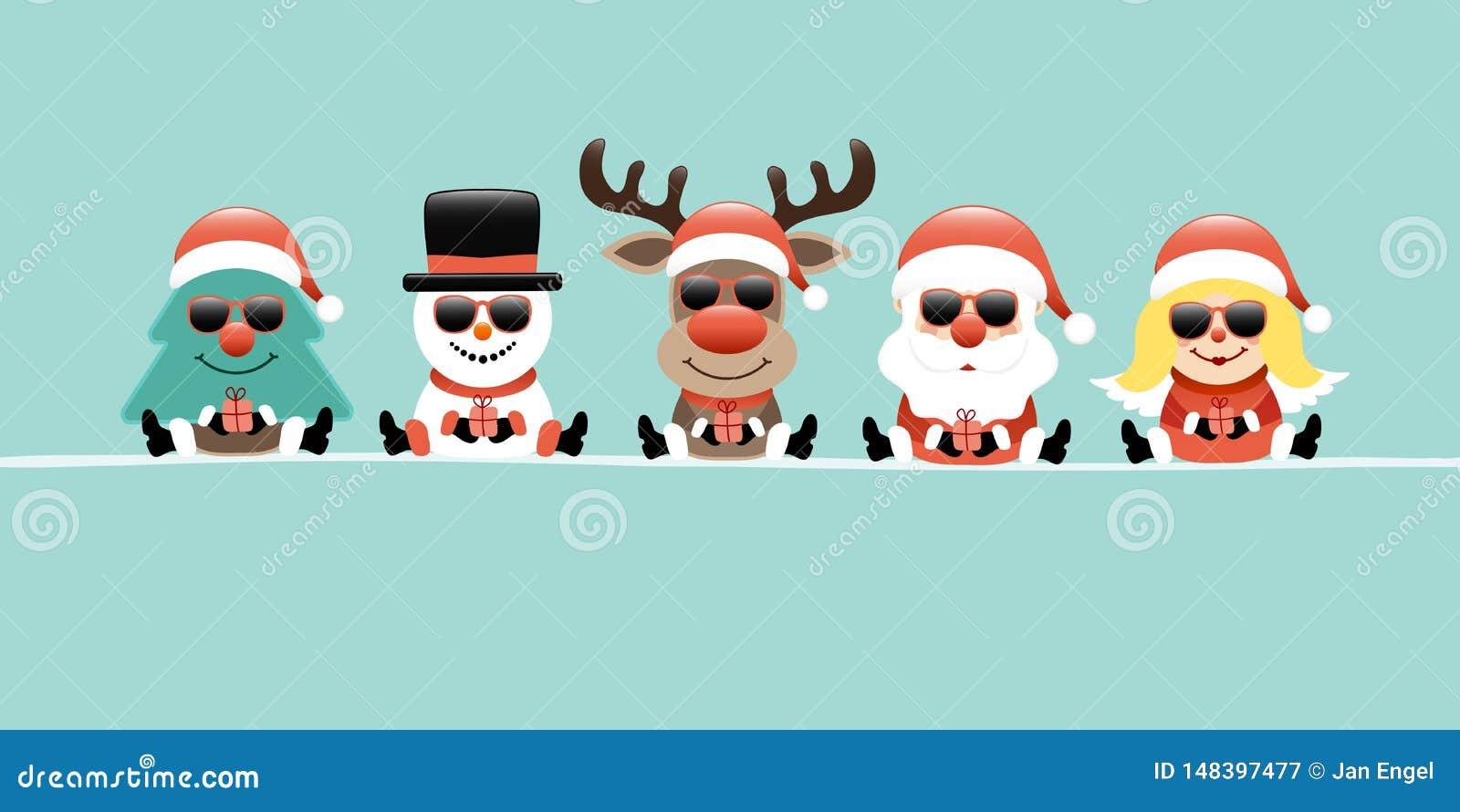 Banerträd, snögubbe, ren, jultomten & Angel Gift Sunglasses Retro