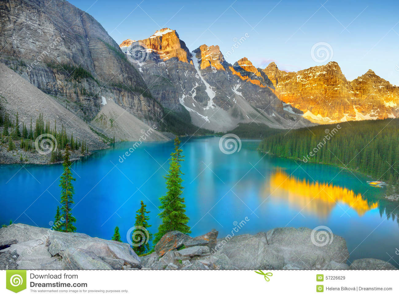 Sunrise at Moraine lake in Banff National park, Alberta, Canada.