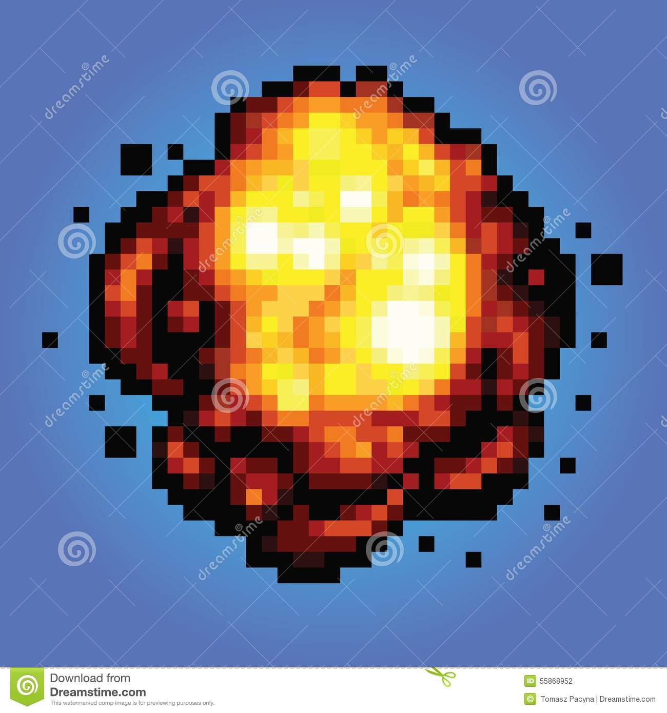 Bang Explosion Pixel Art Game Style Illustration Stock