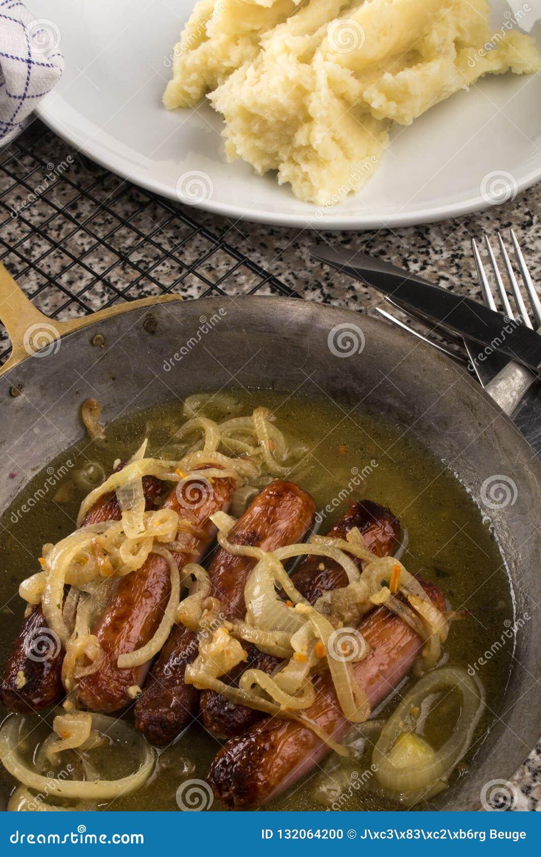 Banger en stampt een zeer typische Ierse maaltijd fijn