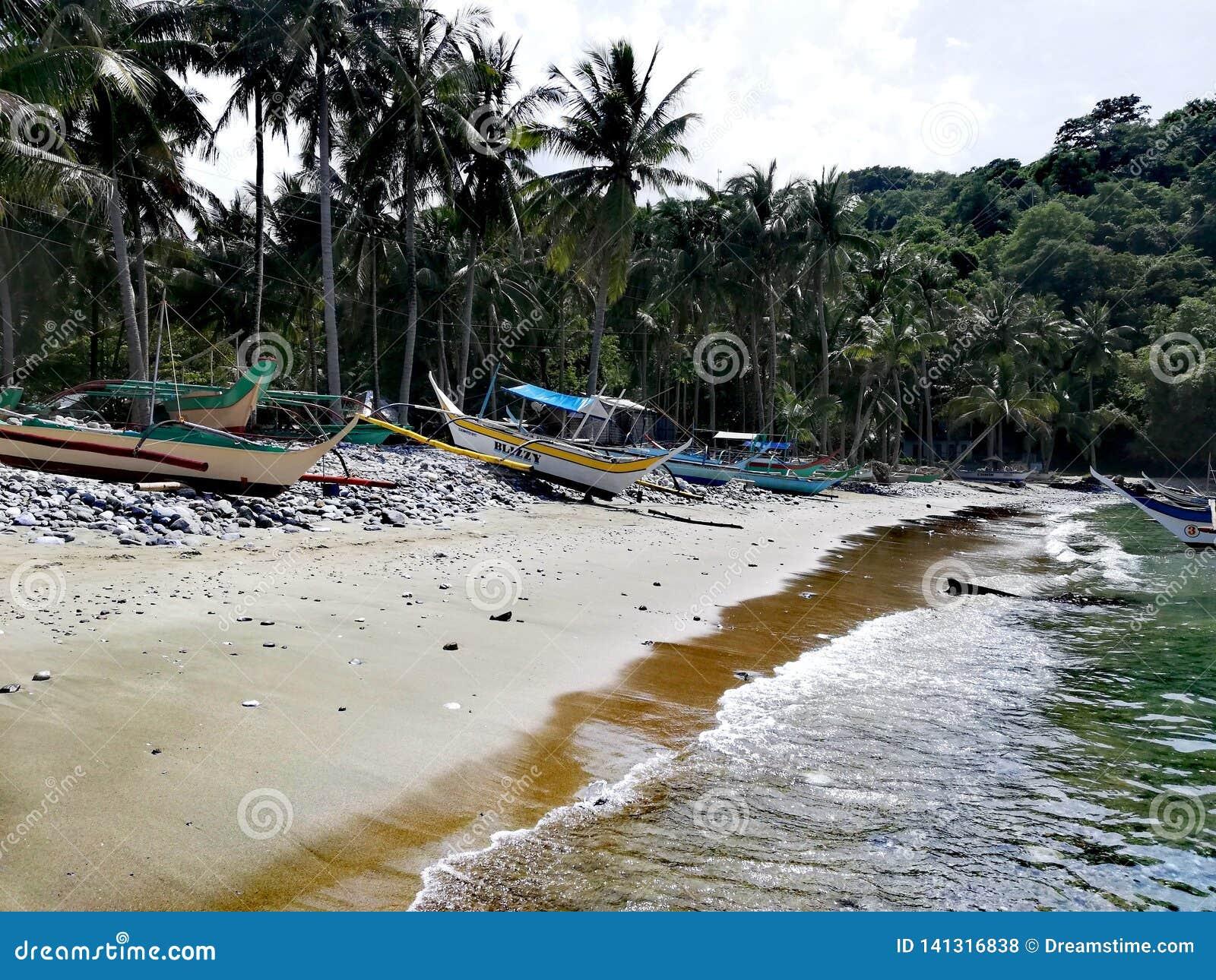 Bangkas na dennym brzeg na tropikalnym Mindoro, Filipiny